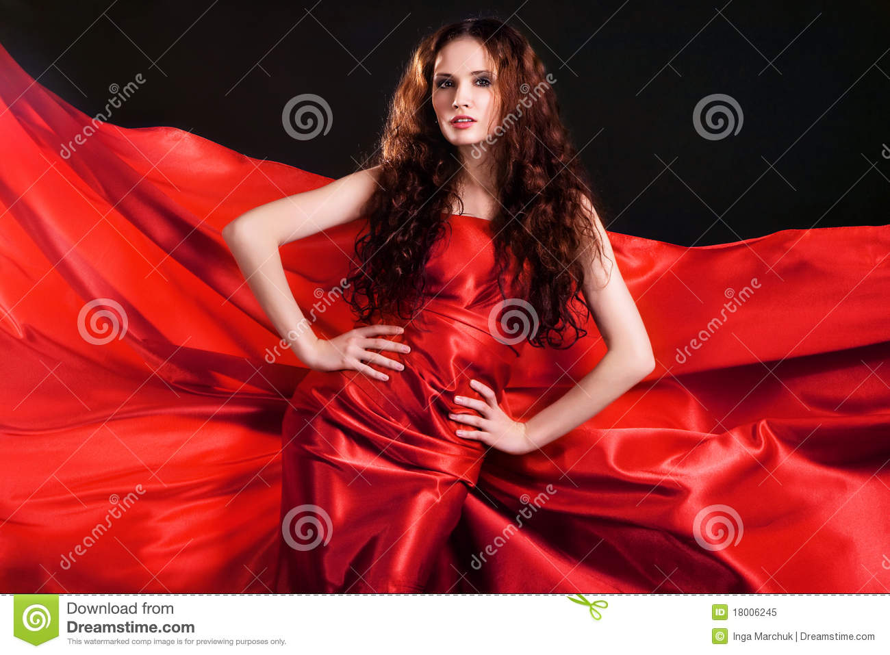 Gorgeous model in red clothing