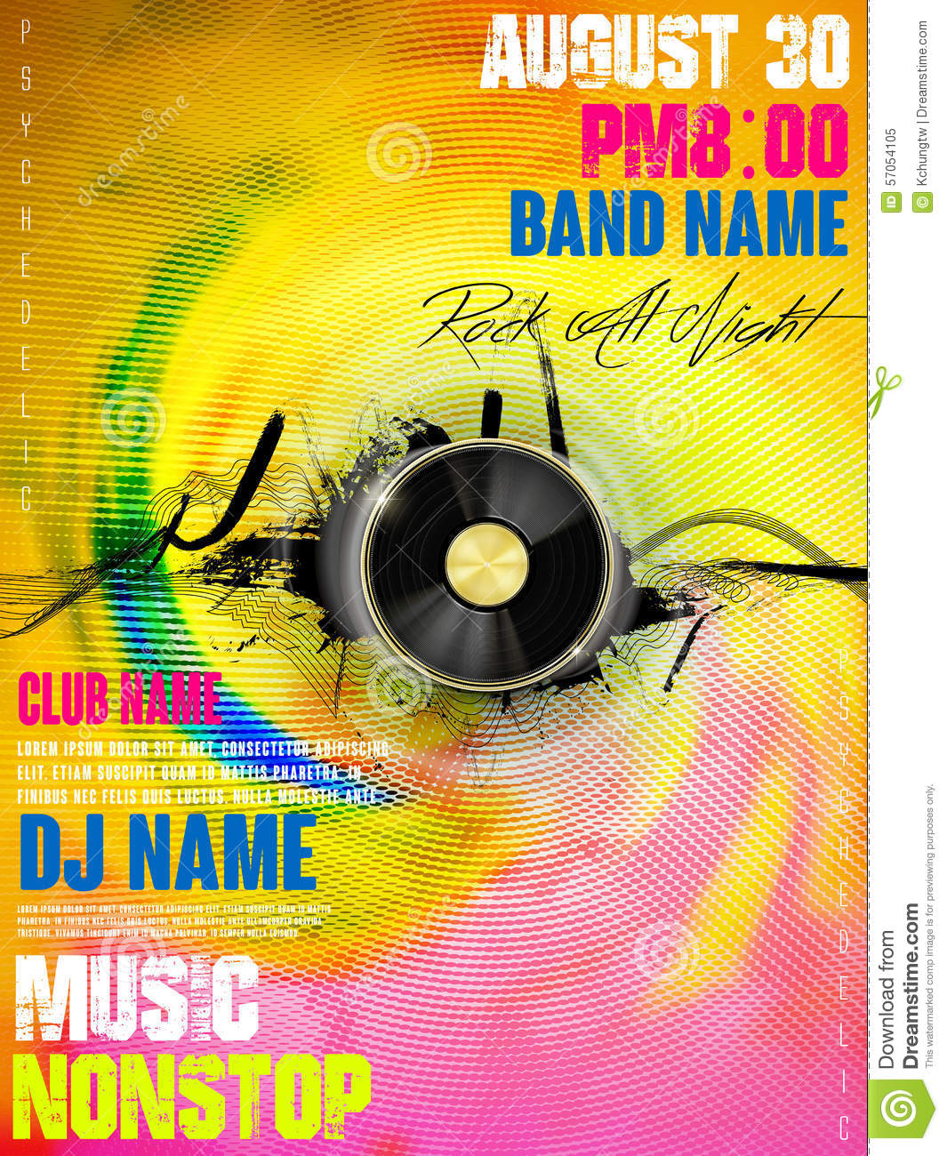Gorgeous Music Party Poster Design Stock Vector