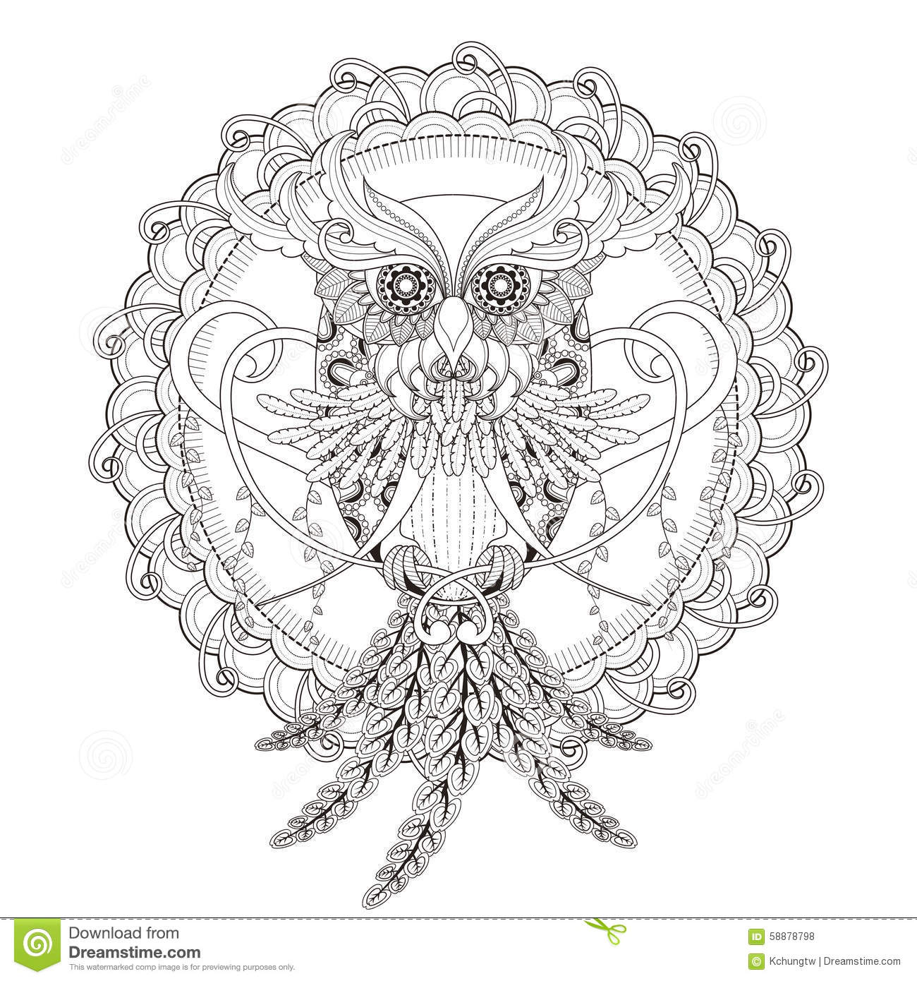 Gorgeous Owl Coloring Page Stock Vector
