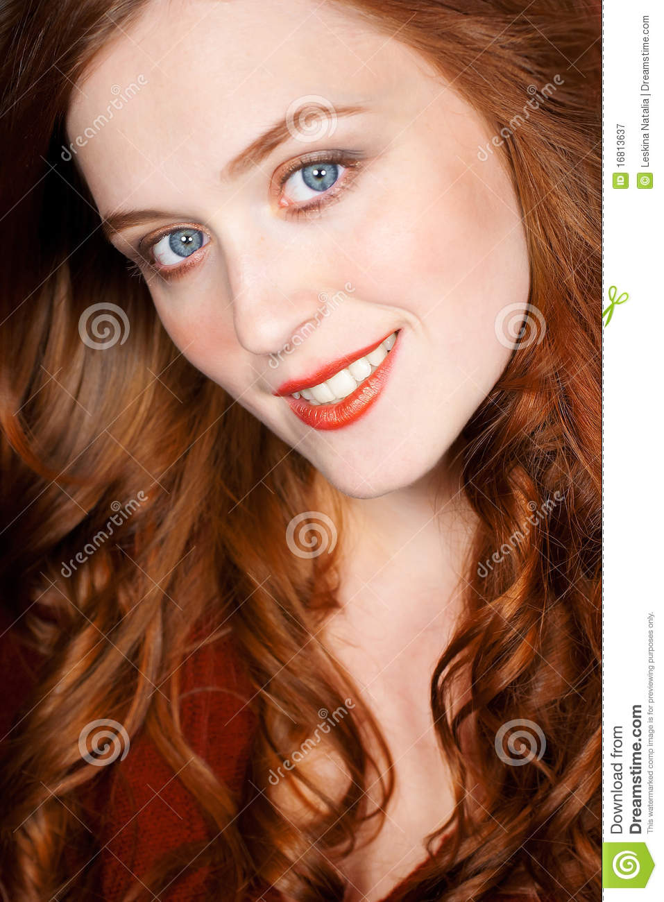 Close up beauty portrait of sensual ginger woman with long