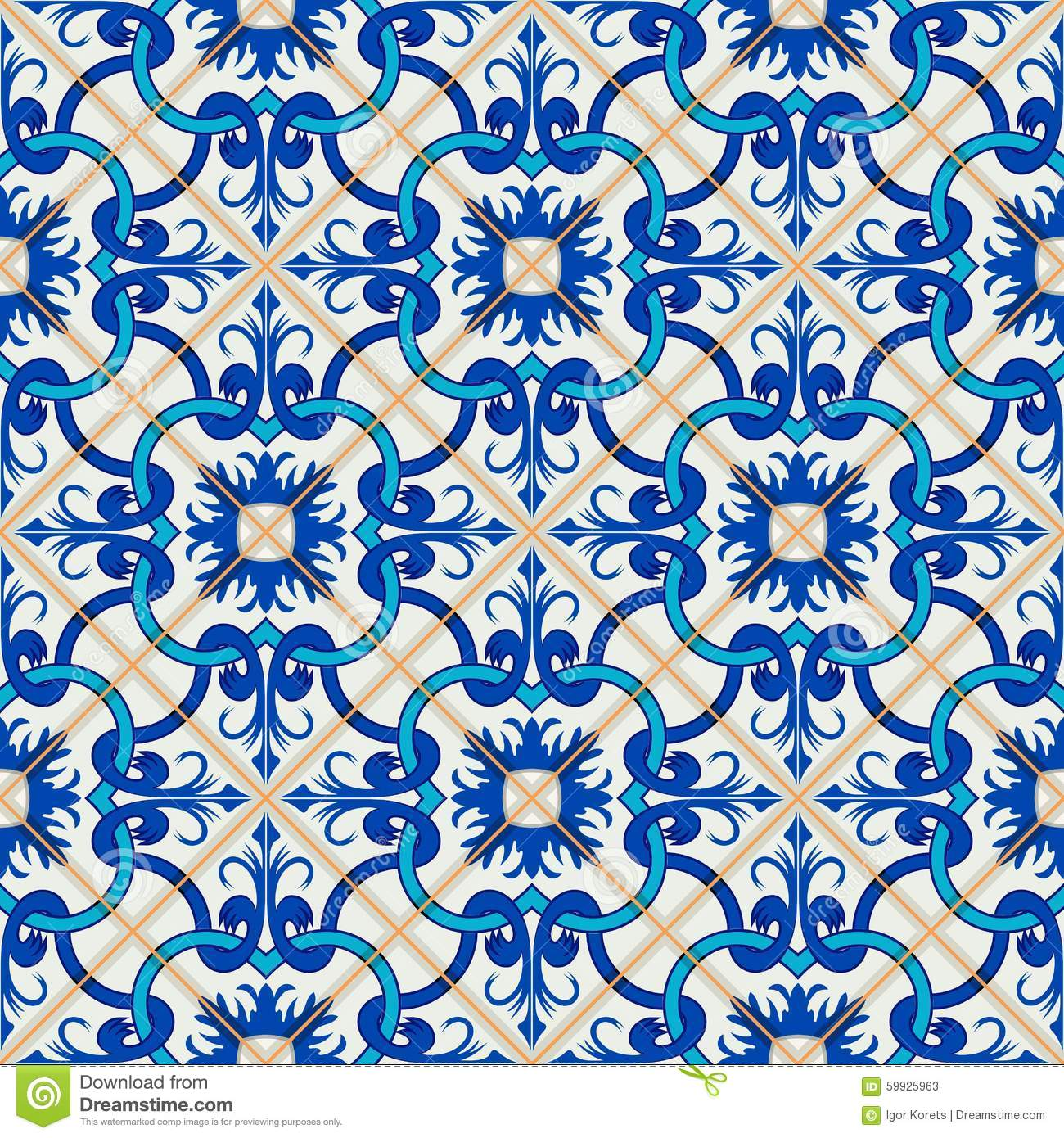 Patchwork Pattern From Dark Blue And White Moroccan Portuguese Tiles