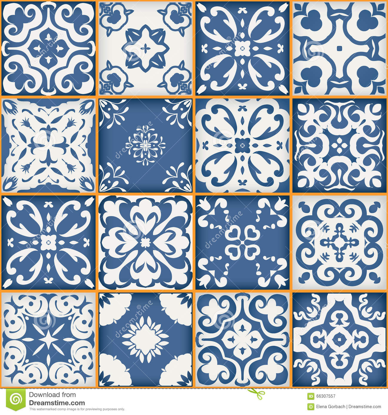 Gorgeous seamless patchwork pattern from dark blue and white Moroccan ...