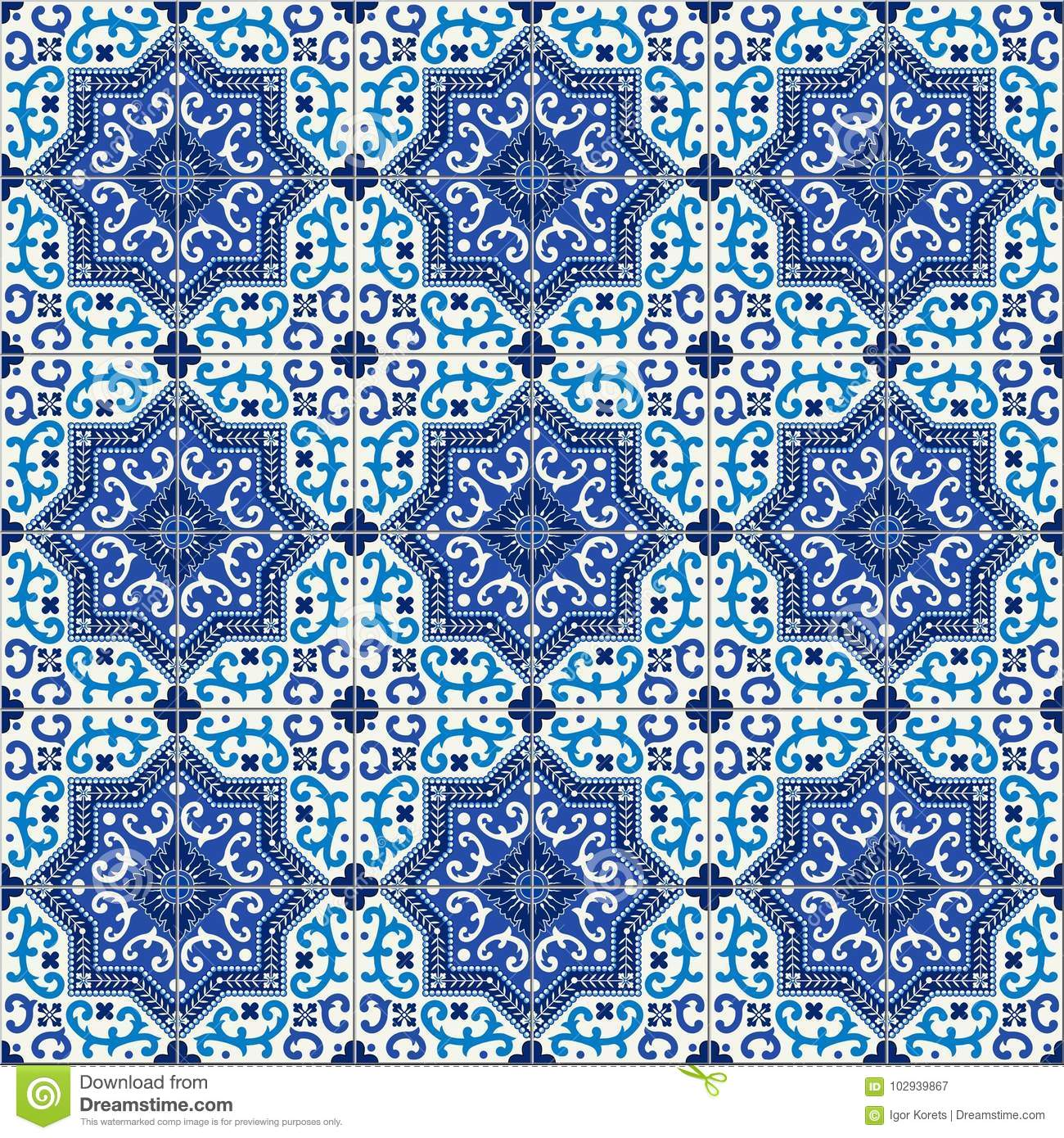 Gorgeous Seamless Pattern White Blue Moroccan Portuguese Tiles Azulejo Ornaments Can Be Used For Wallpaper Fills Web Page Backgroundsurface