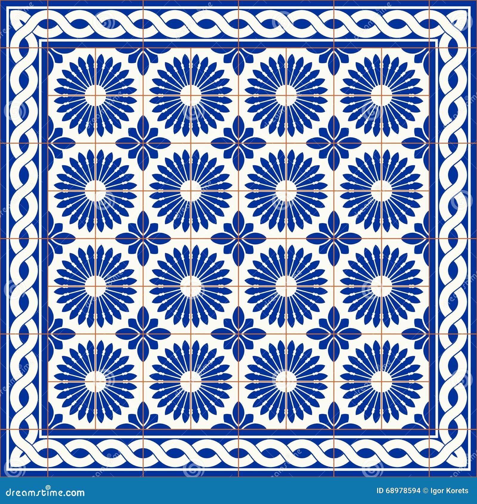 Gorgeous Seamless Pattern White Turkish, Moroccan, Portuguese Tiles ...