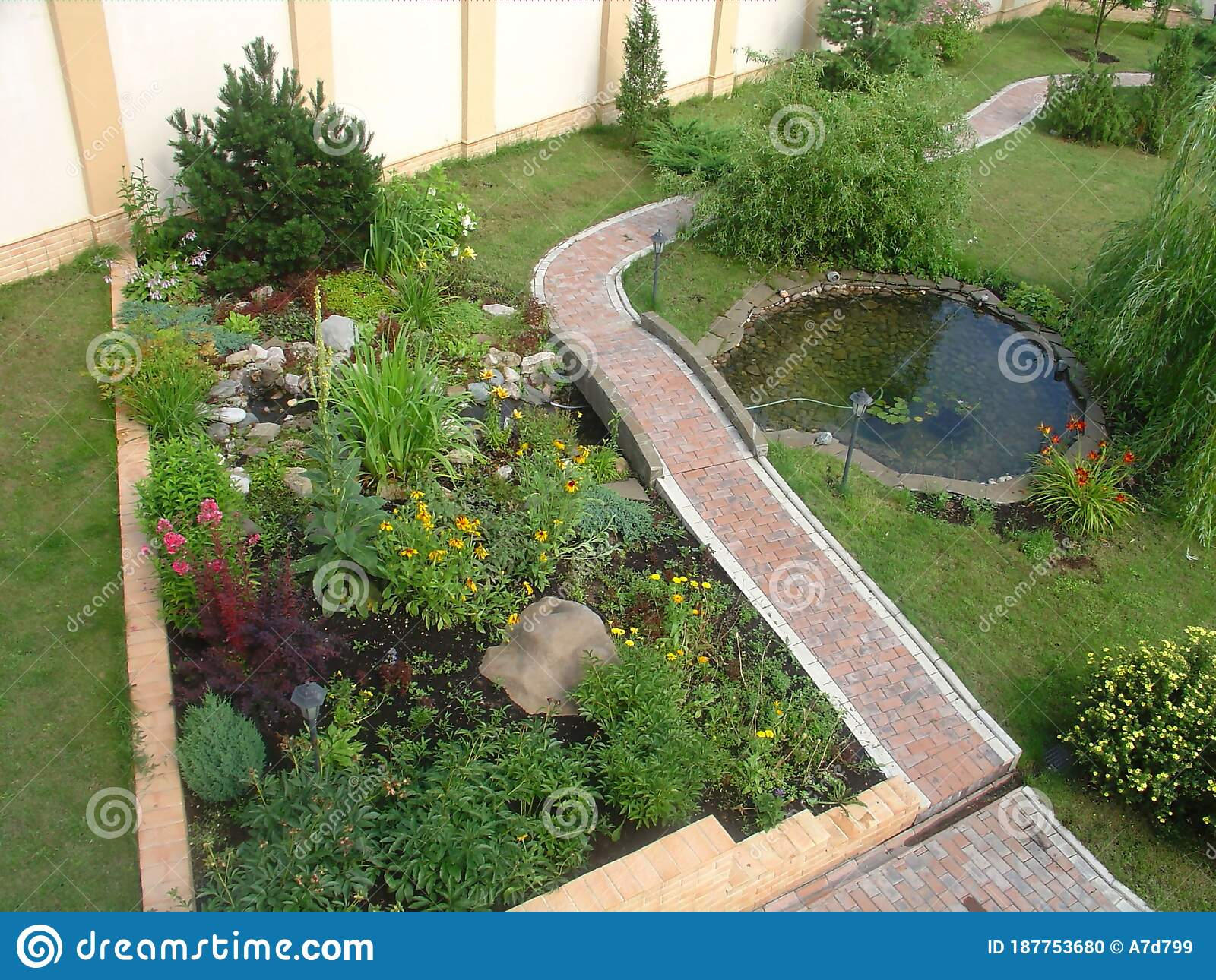 Gorgeous View Of Exterior Of A Private Garden Landscape Design Pond Decorative Pool With Rocks And Green Plants Stock Photo Image Of Leaf Design 187753680