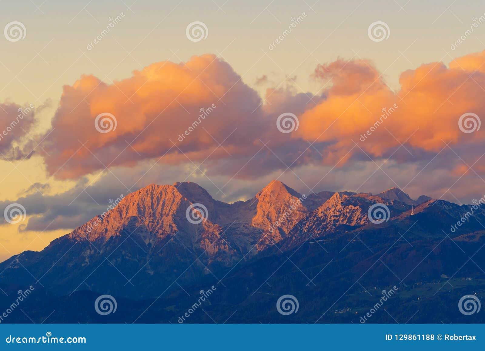 Gorgeous view of Karawanks mountain range at sunset