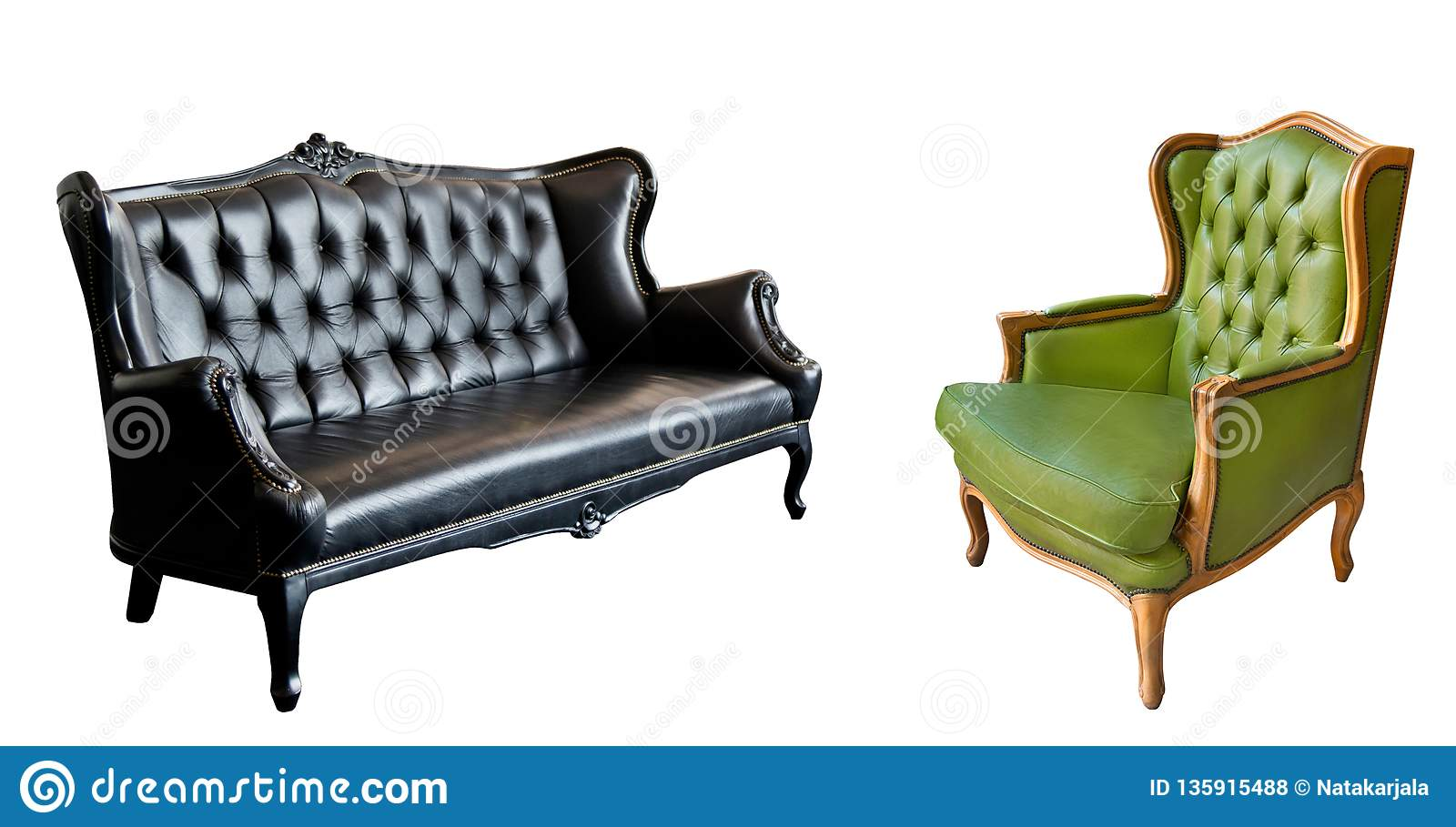 Admirable Gorgeous Vintage Green Leather Armchair And Black Leather Machost Co Dining Chair Design Ideas Machostcouk