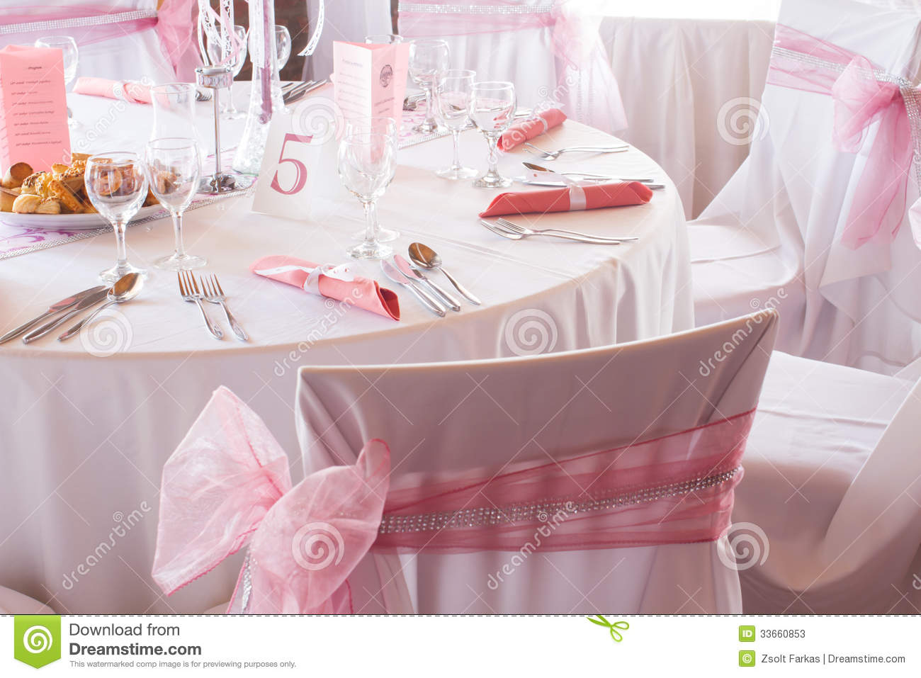 Gorgeous Wedding Chair And Table Setting For Fine Dining  : gorgeous wedding chair table setting fine dining white pink bow jumpered elegant set 33660853 from www.dreamstime.com size 1300 x 957 jpeg 124kB