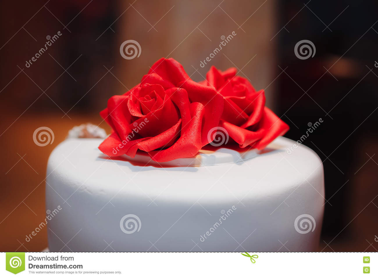 Gorgeous white cake decorated with red flowers roses ribbons and download comp mightylinksfo