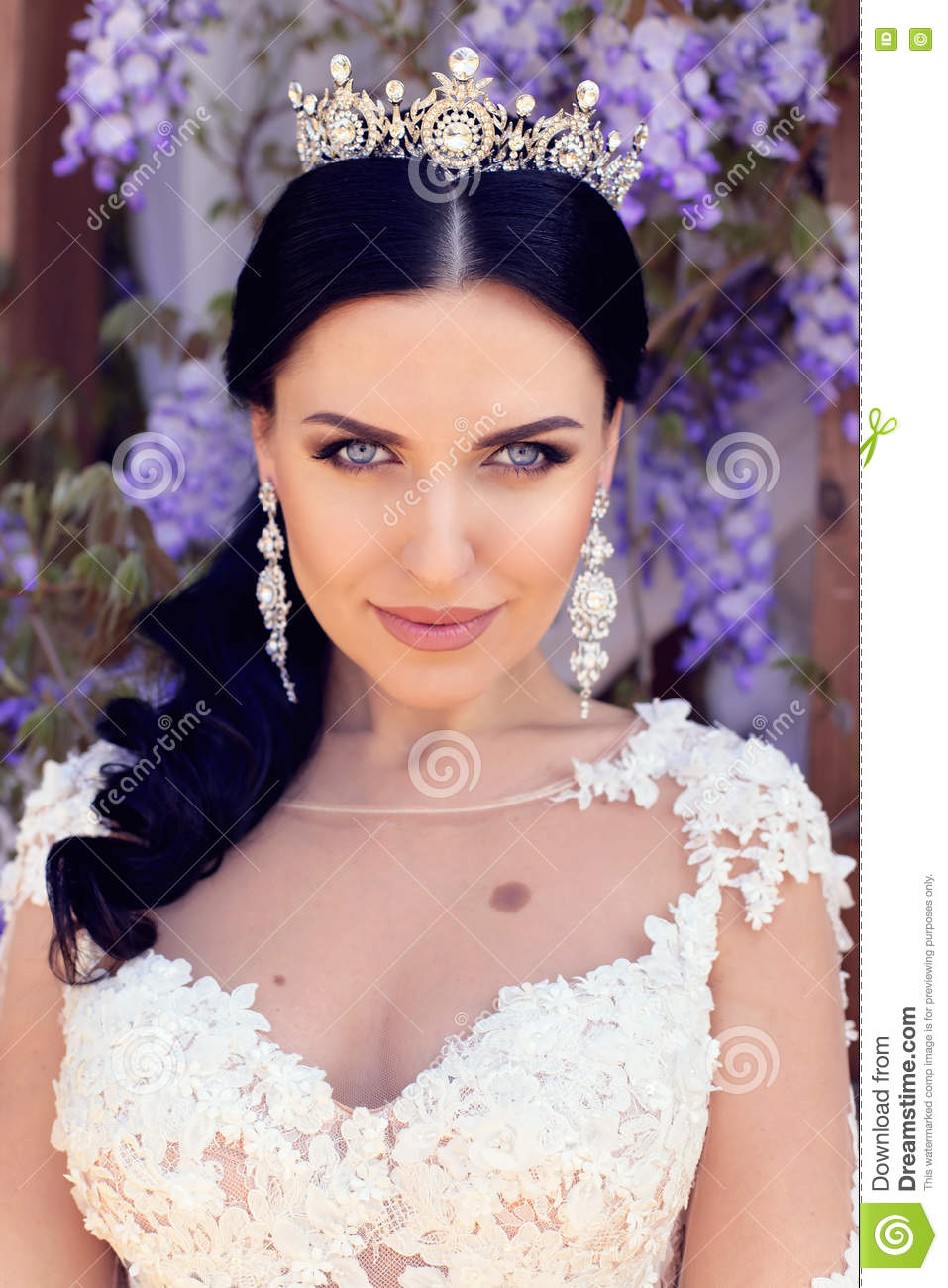 Gorgeous Woman With Dark Hair In Luxurious Wedding Dress Stock Image ...