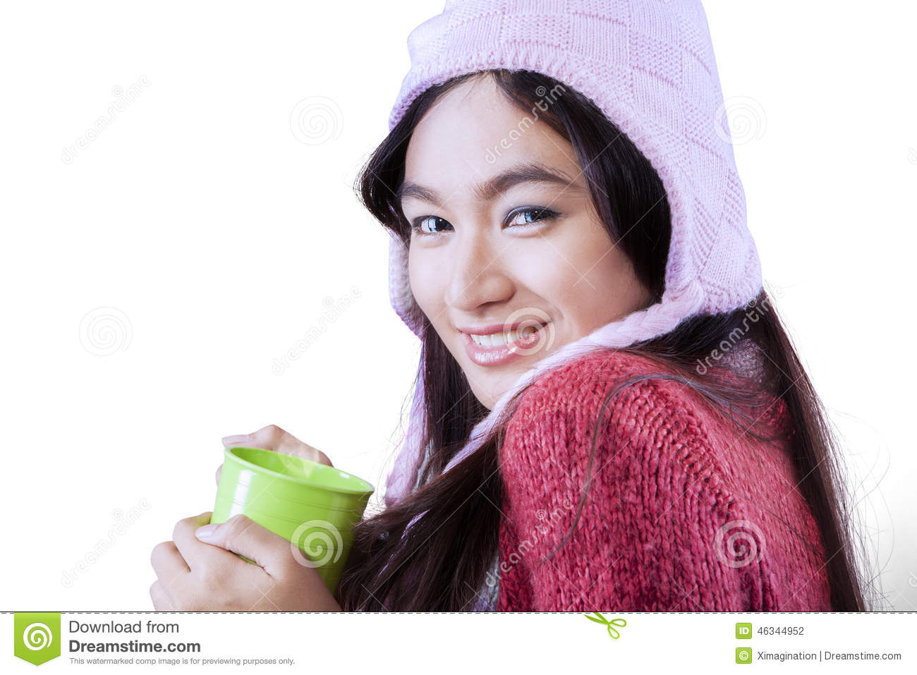 2ceb3c773 Gorgeous Woman Wearing Winter Clothes Stock Photo - Image of coffee ...