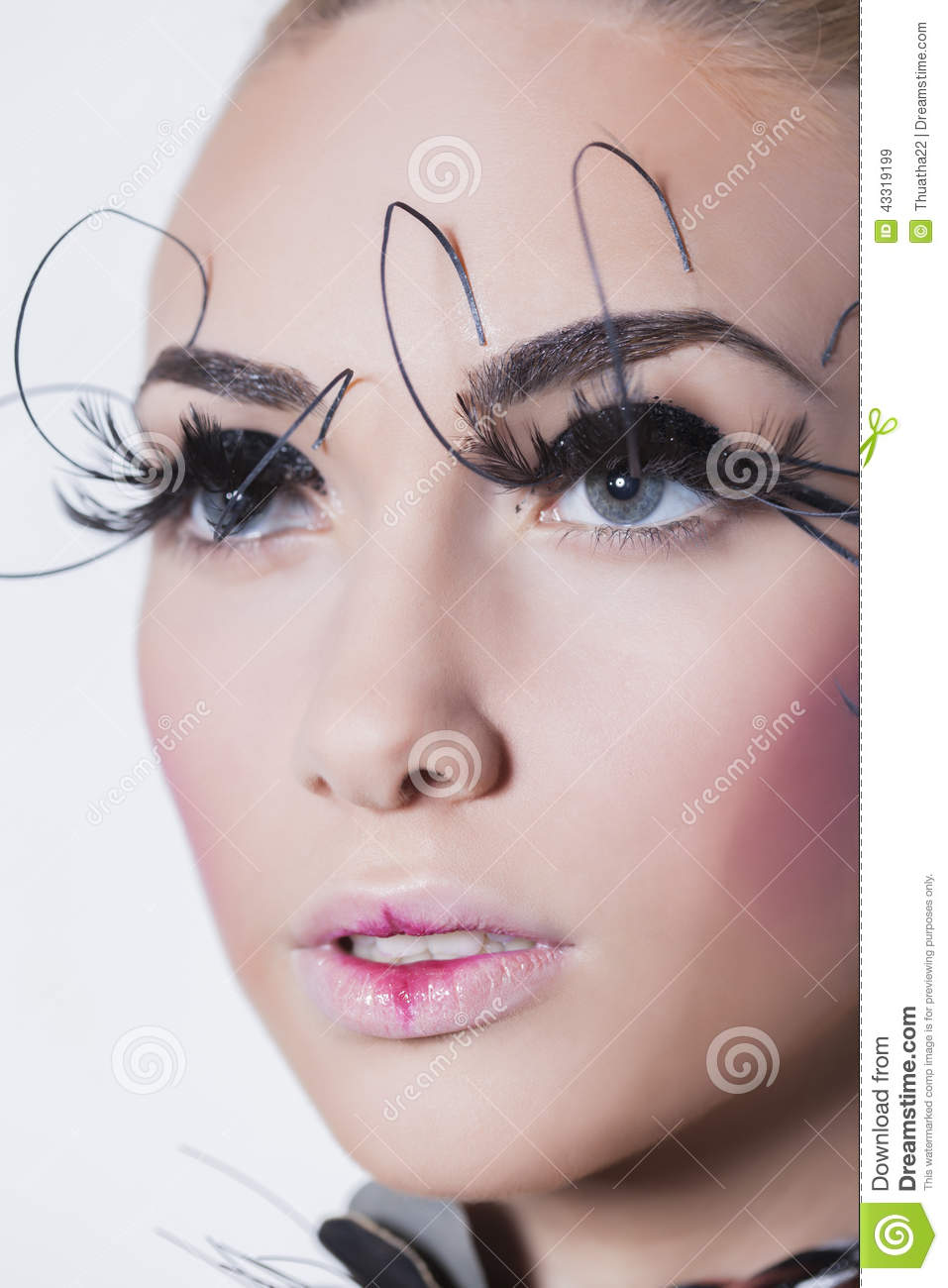 Gorgeous Young Model With Perfect Art Make Up And Long False ...