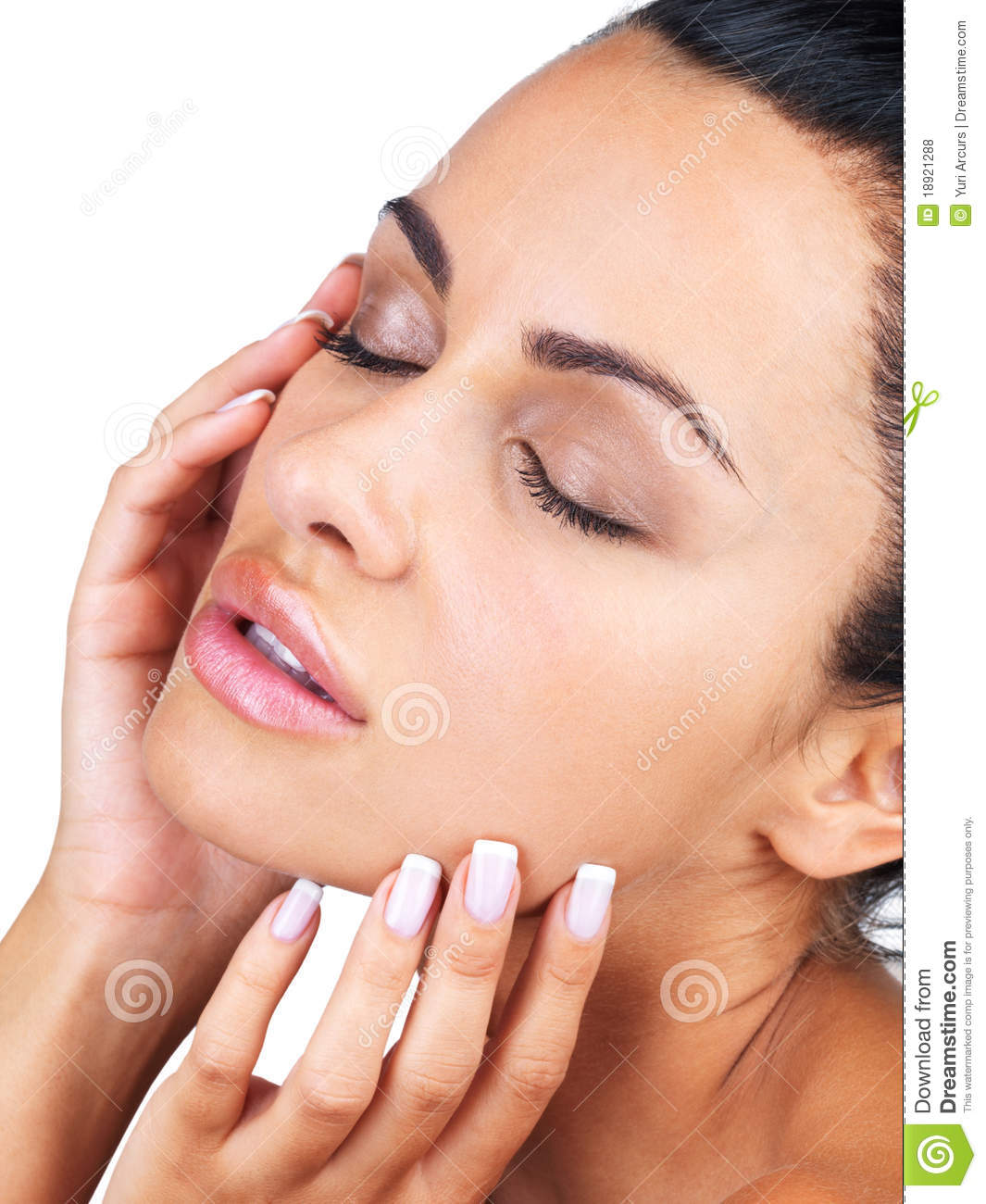 Gorgeous Young Woman Touching Her Face Stock Photo - Image