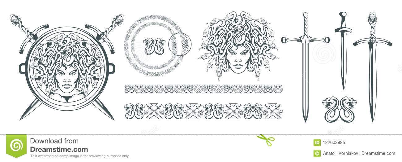 Gorgon Medusa - monster with a female face and snakes instead of hair. Sword. Medusa head. Greek mythology. Hand drawn traditional