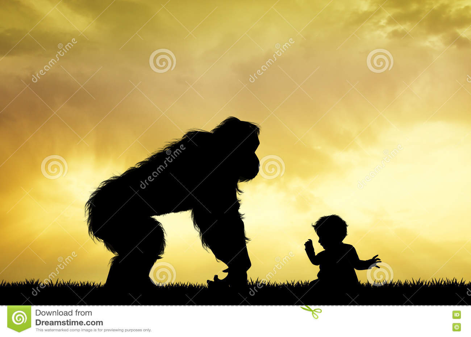 Gorilla with child