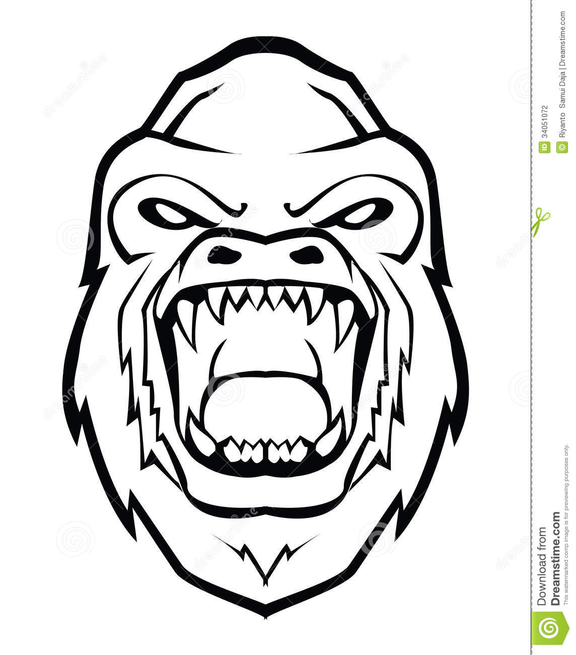 Gorilla Face Line Drawing : Gorilla face stock photography image