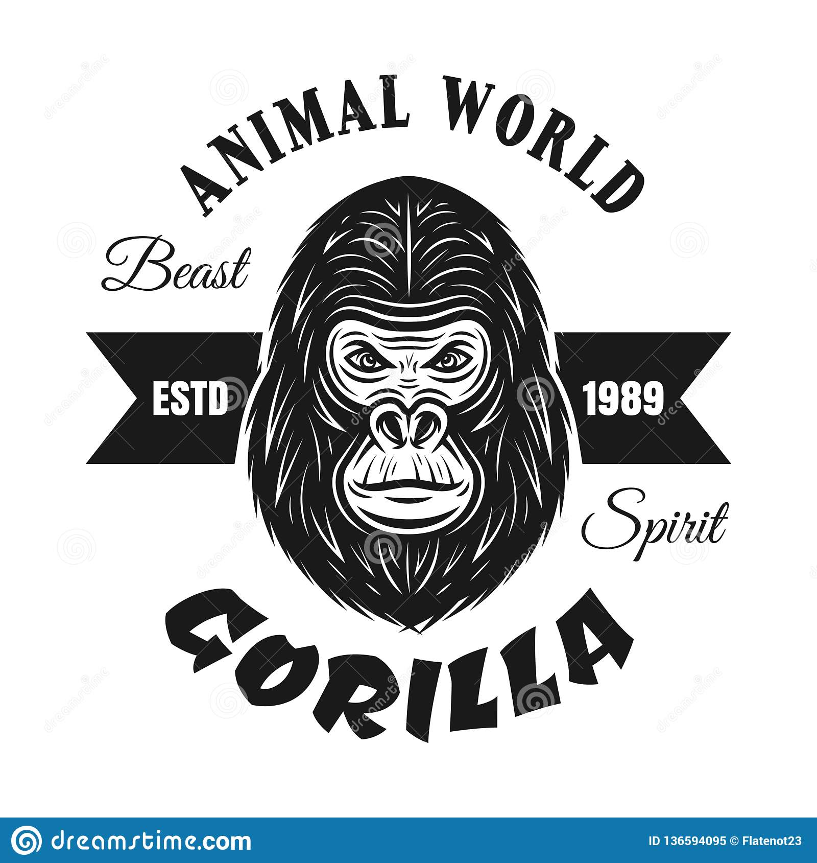 fcdafc8e2 Gorilla head black vector emblem, label, badge or logo with text isolated  on white background. More similar stock illustrations