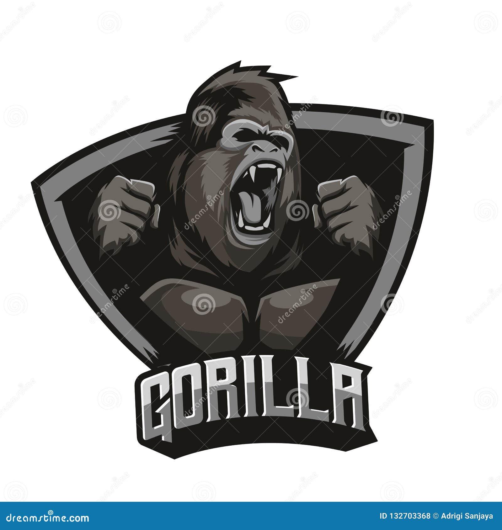 comprar popular 0b598 7c86c Gorilla Logo With Background Vector Enojado Ilustración del ...