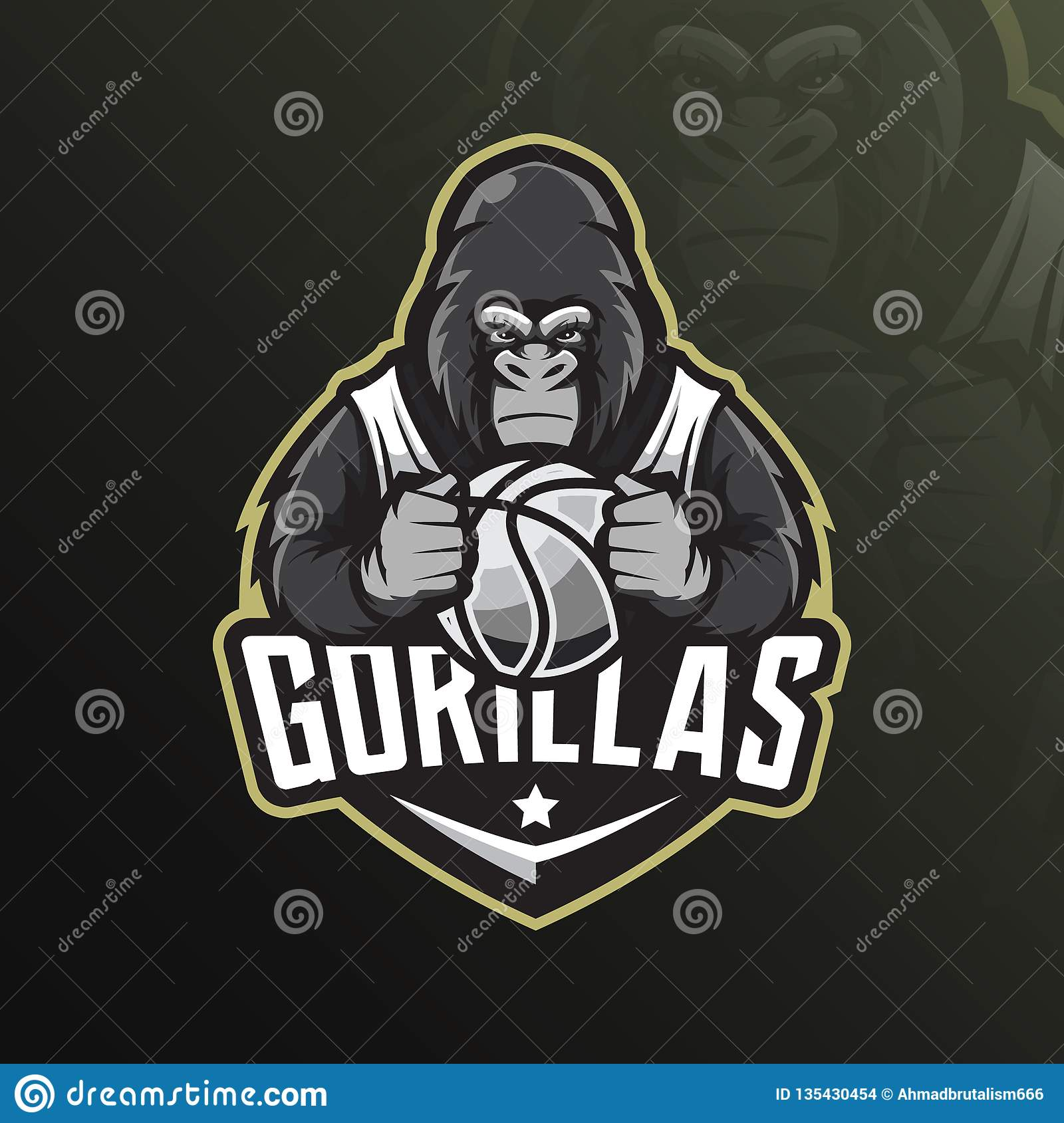 Gorilla mascot logo design vector with modern illustration concept style for badge, emblem and tshirt printing. angry gorilla