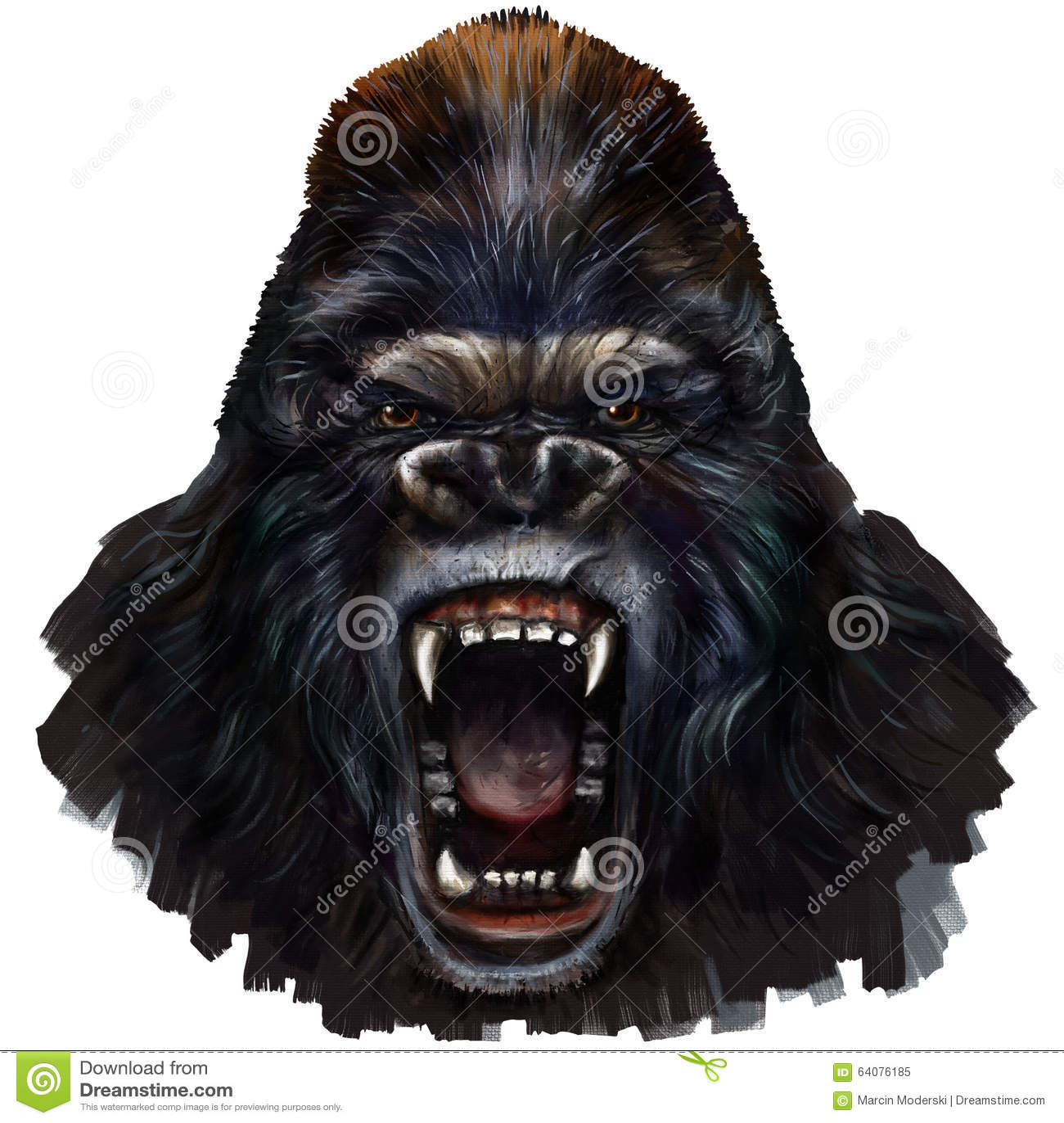 Gorilla scream stock illustration image 64076185 - King kong design ...