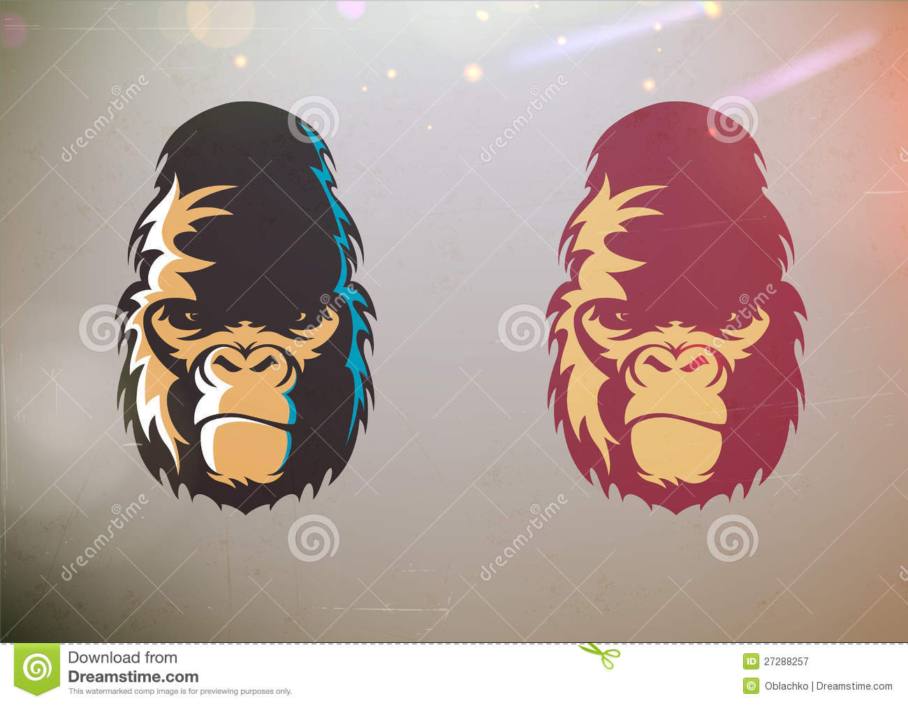 Vector Illustration Of Fun Cartoon Stylized Gorilla Smirk Face In Two Color Variations