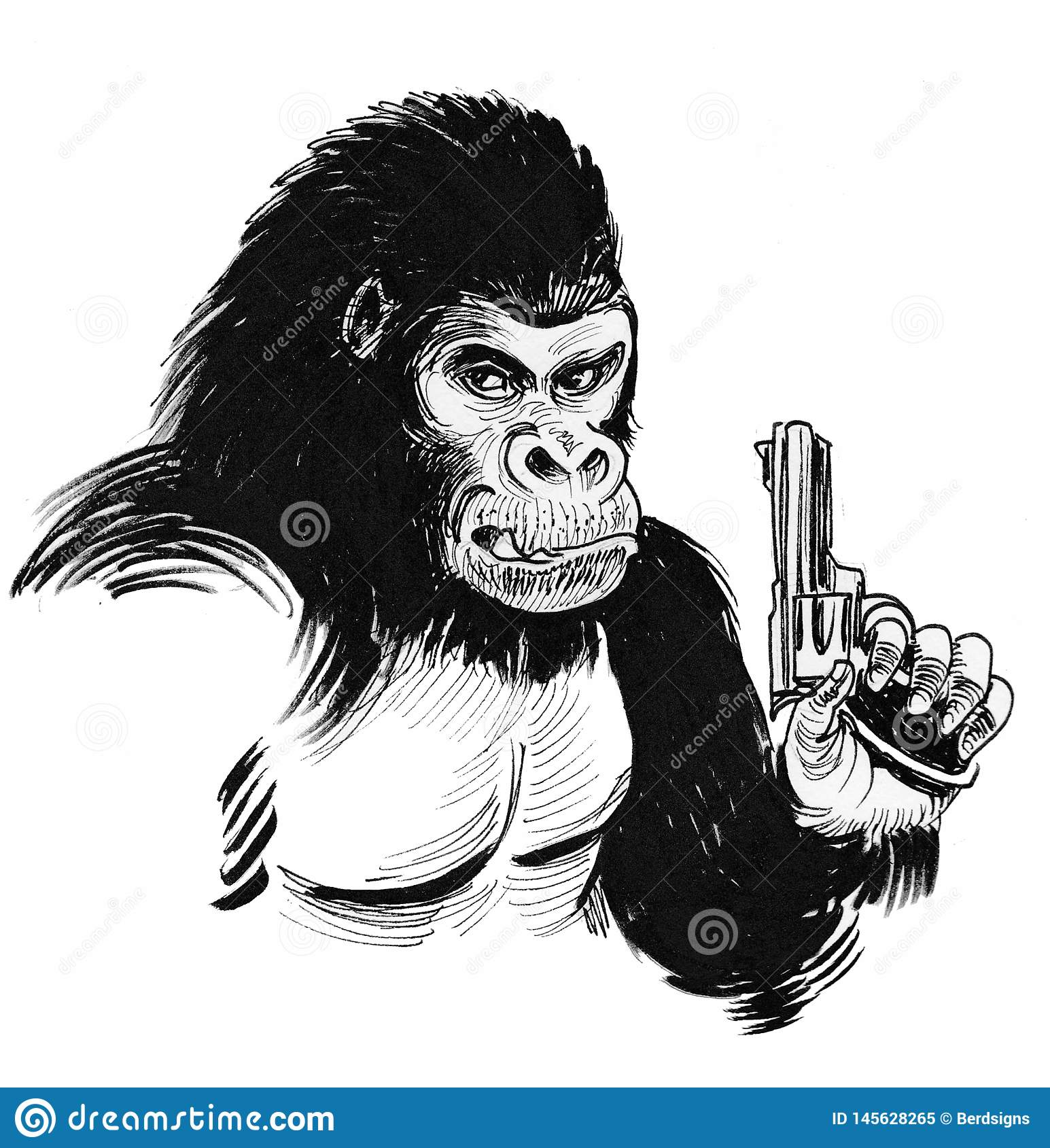 Gorille Avec Une Arme A Feu Illustration Stock Illustration Du Encre Dangereux 145628265