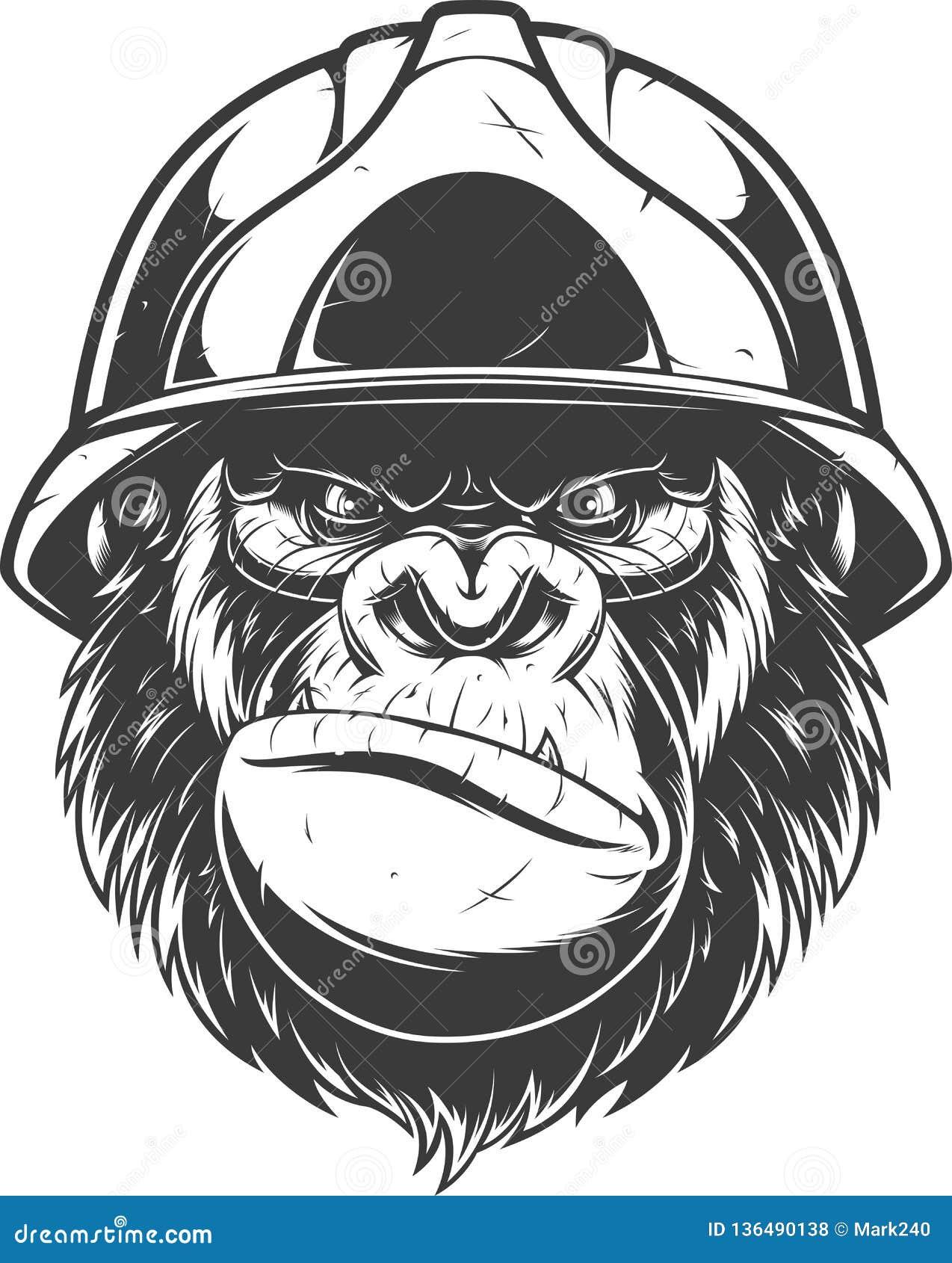Gorille dans le casque de construction