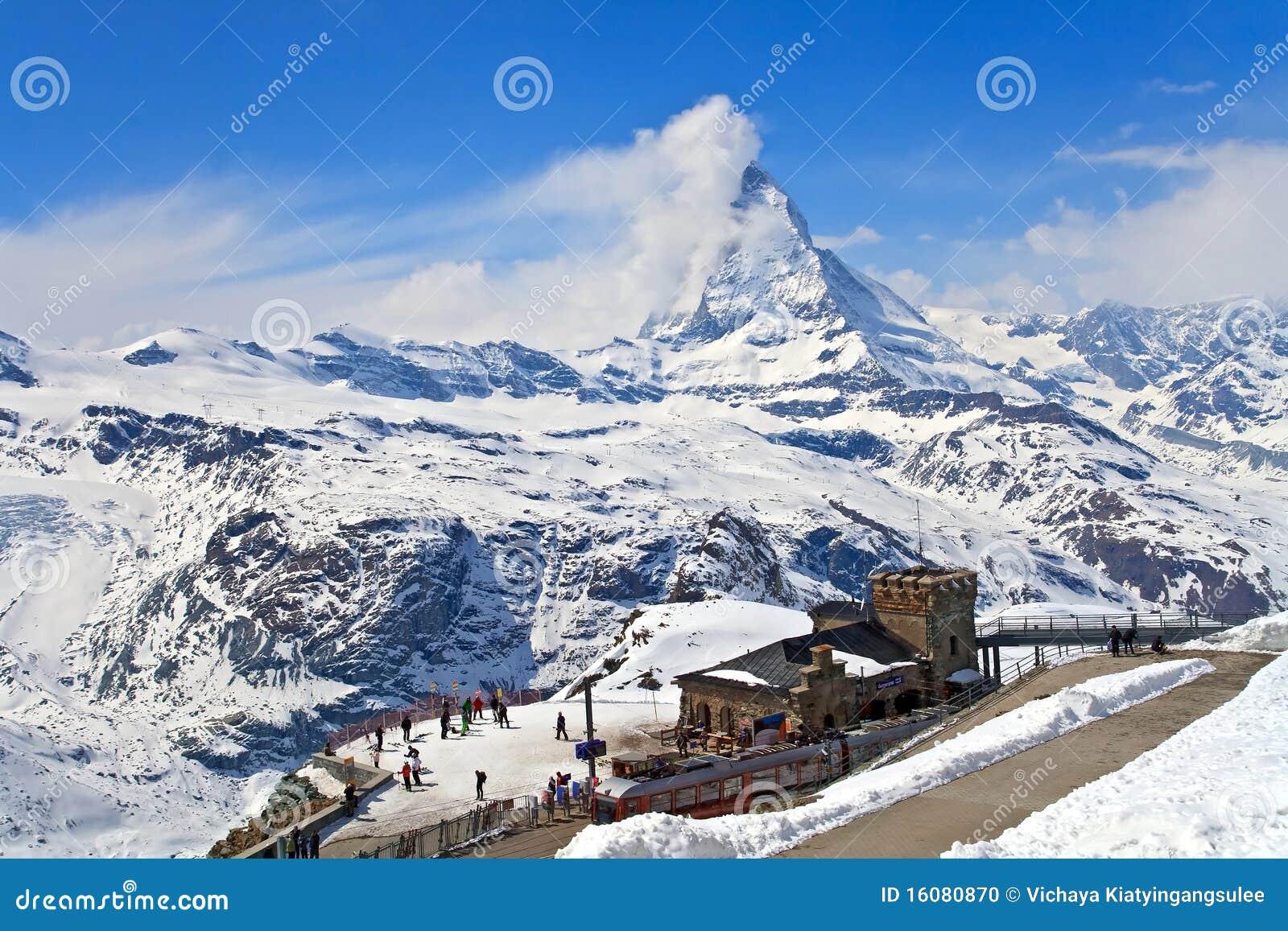 Gornergrat Train Station and Matterhorn peak