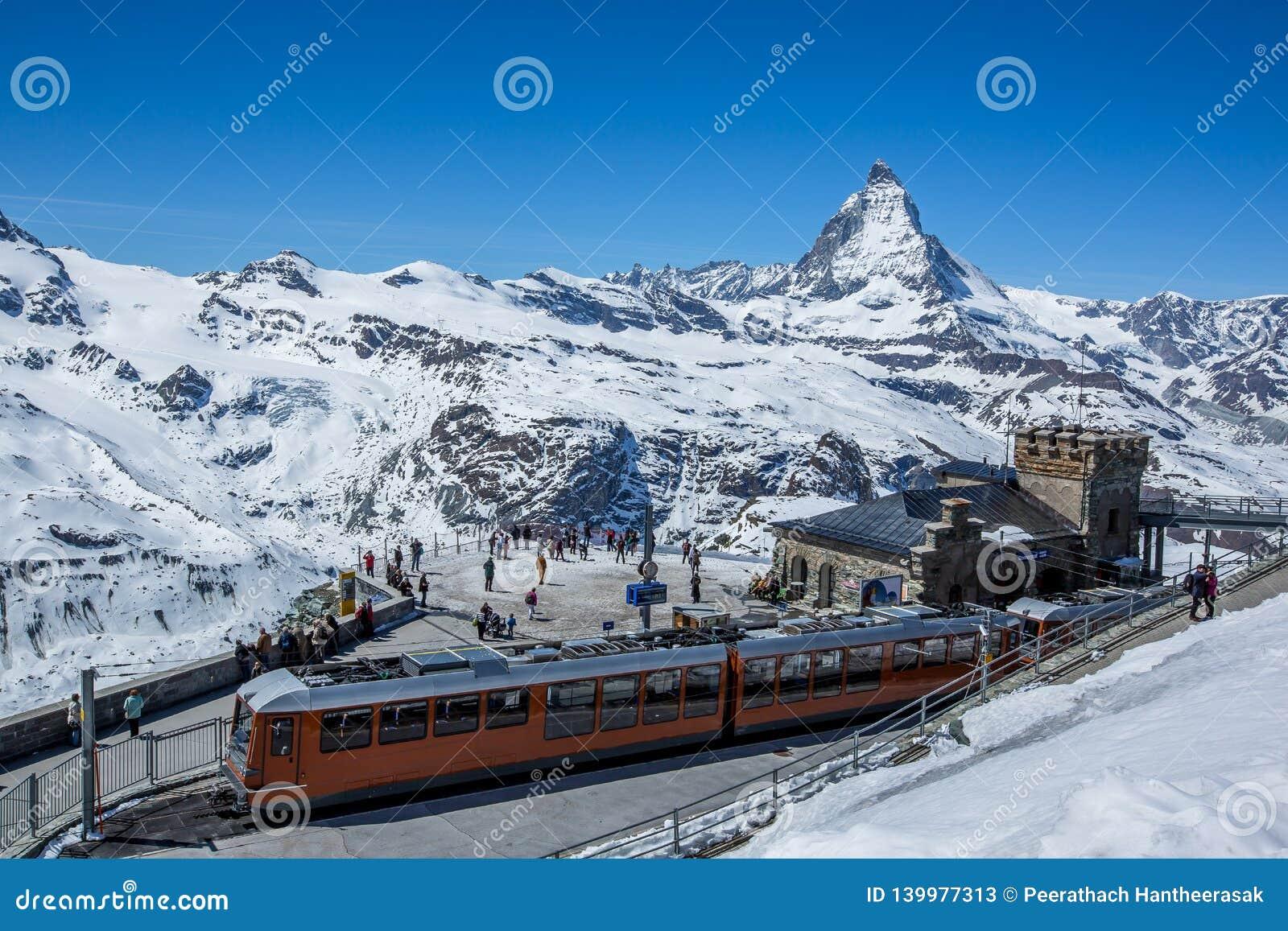 Gornergrat Train Station and The Matterhorn - Zermatt, Switzerland