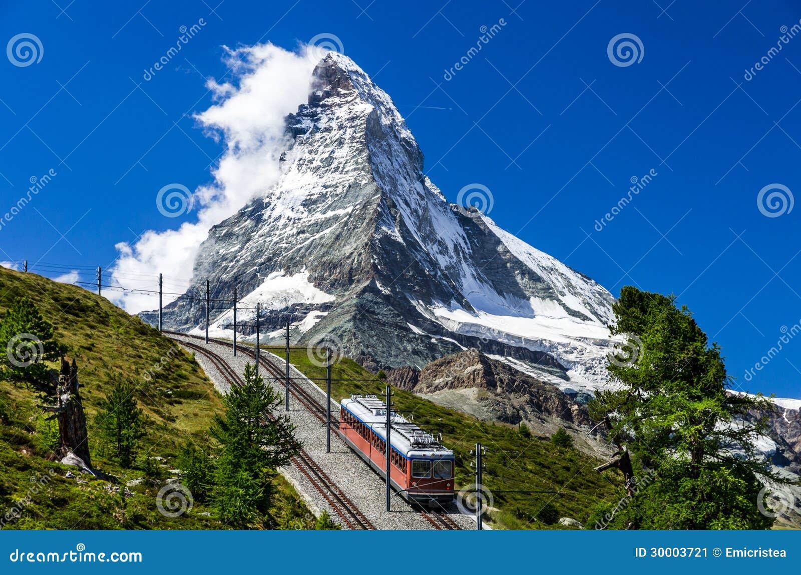 De trein en Matterhorn van Gornergrat. Zwitserland