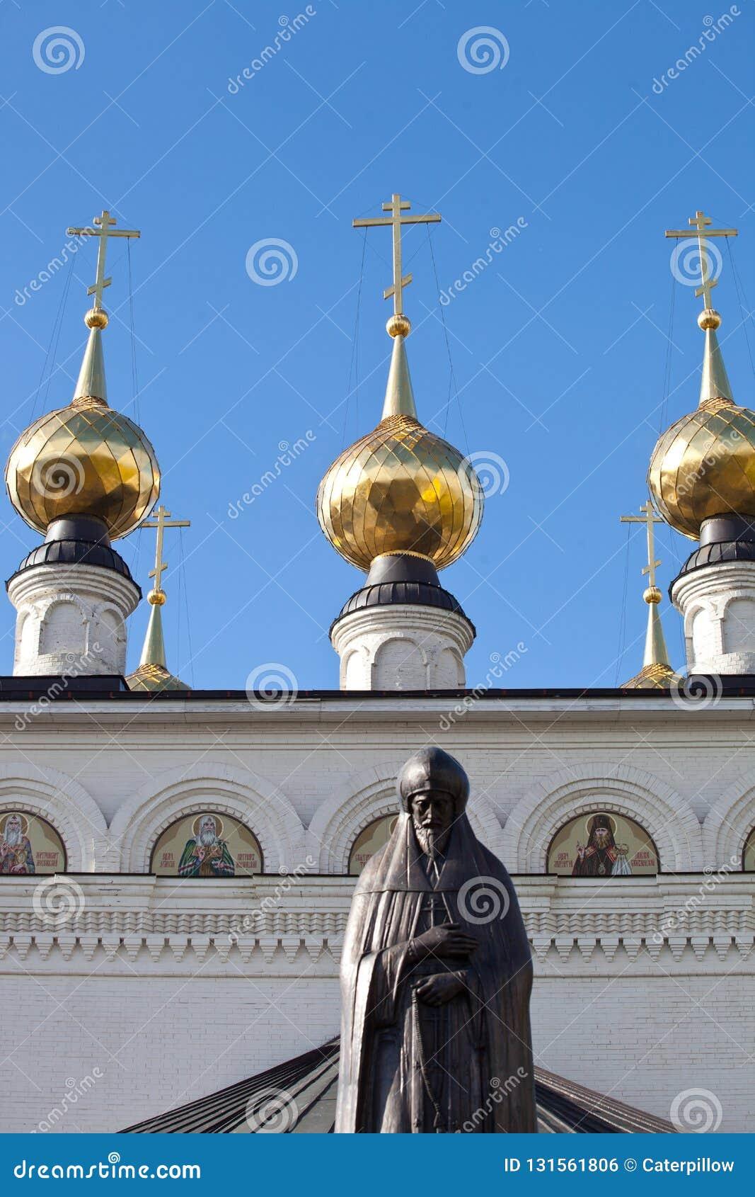 Gorodets Rosja 5 Oktober 2018 Zabytek książe Aleksander Nevsky w jego miejscu śmierć, w Feodorovsky monasterze w Gorodets
