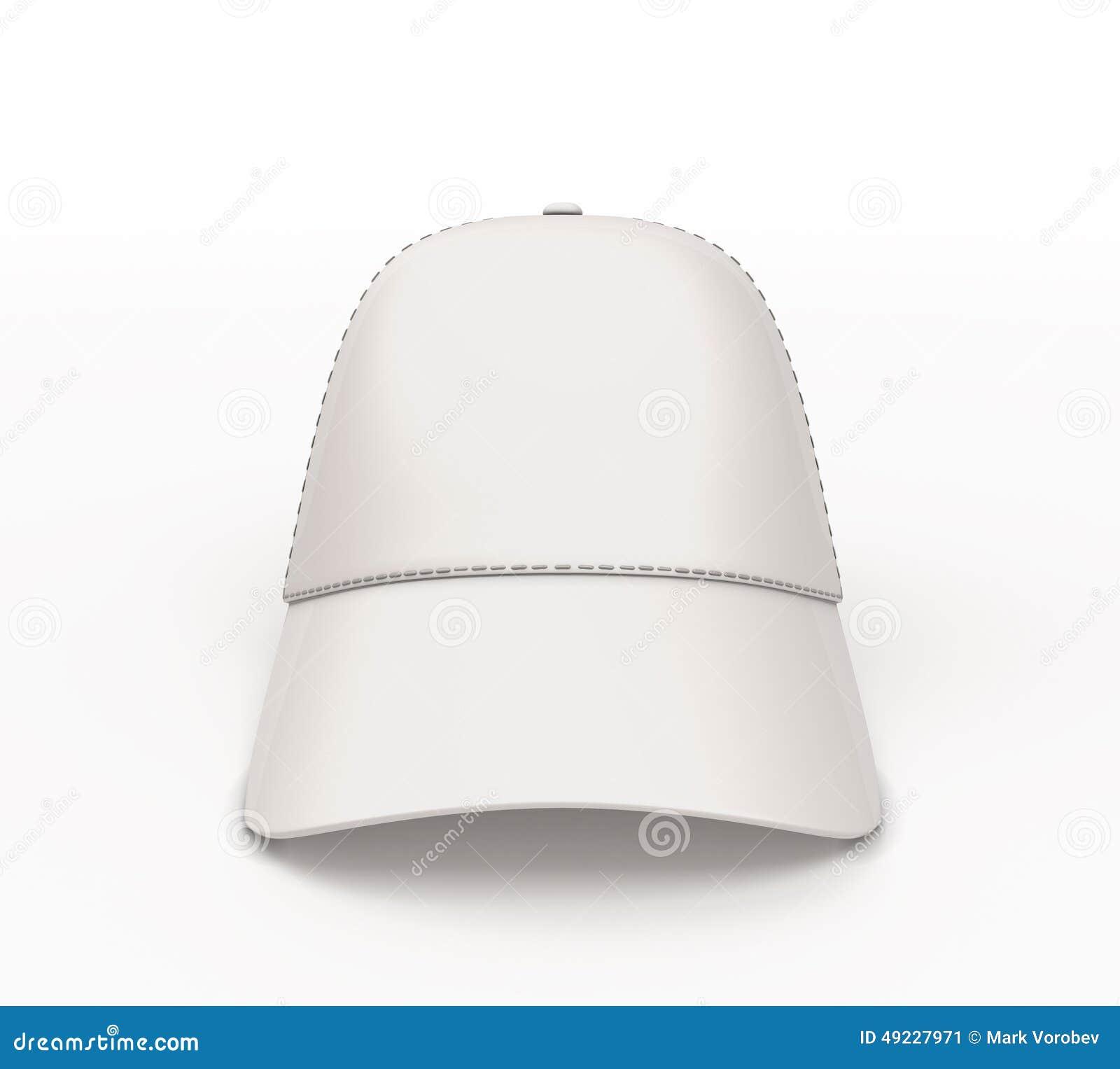 Gorra De Béisbol Blanca Para Su Vista Delantera Del Diseño Stock de ... d7bb66ce092
