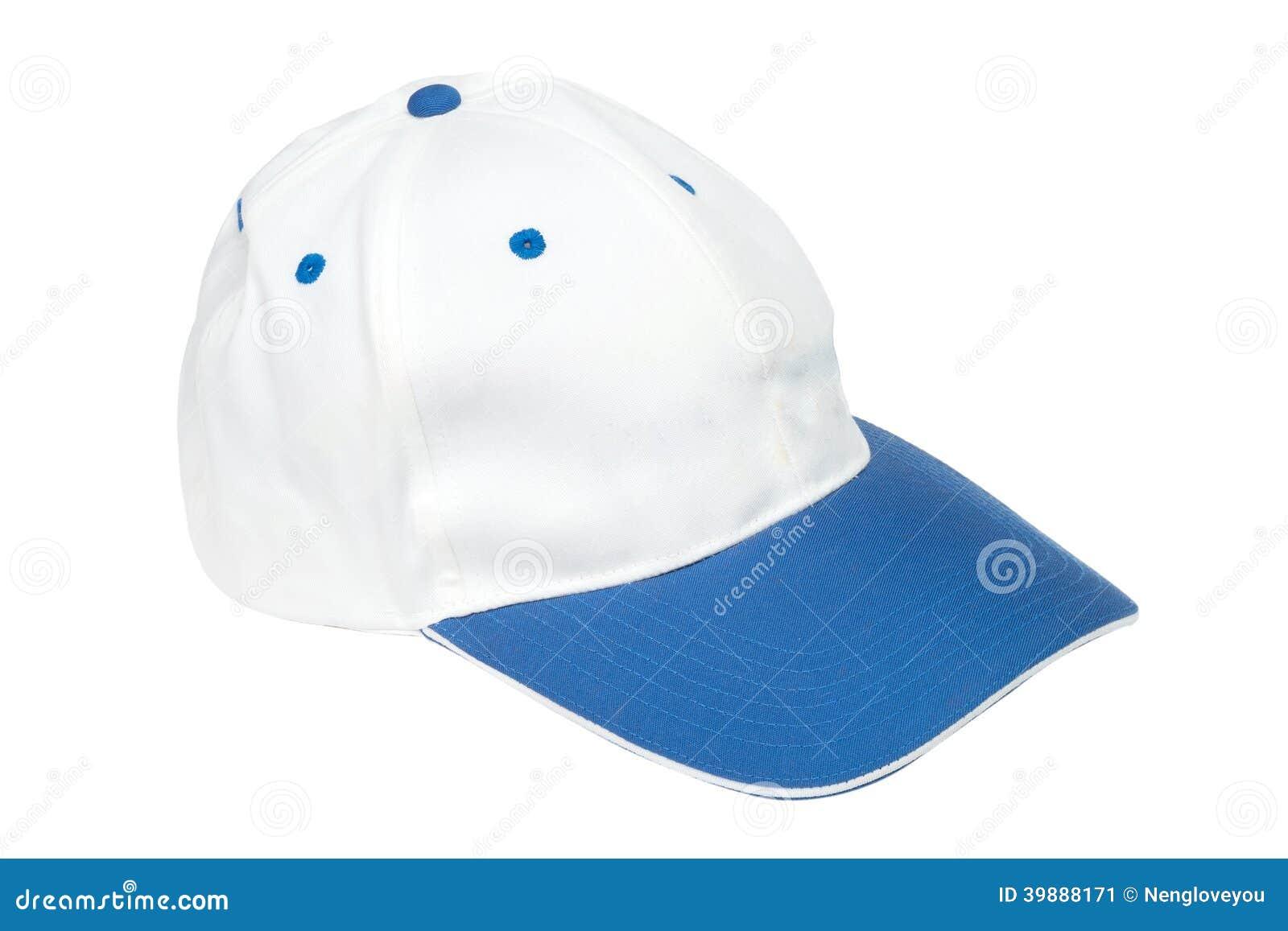 55cc99cf686ee Gorras De Béisbol Azules Y Blancas Del Color Imagen de archivo ...