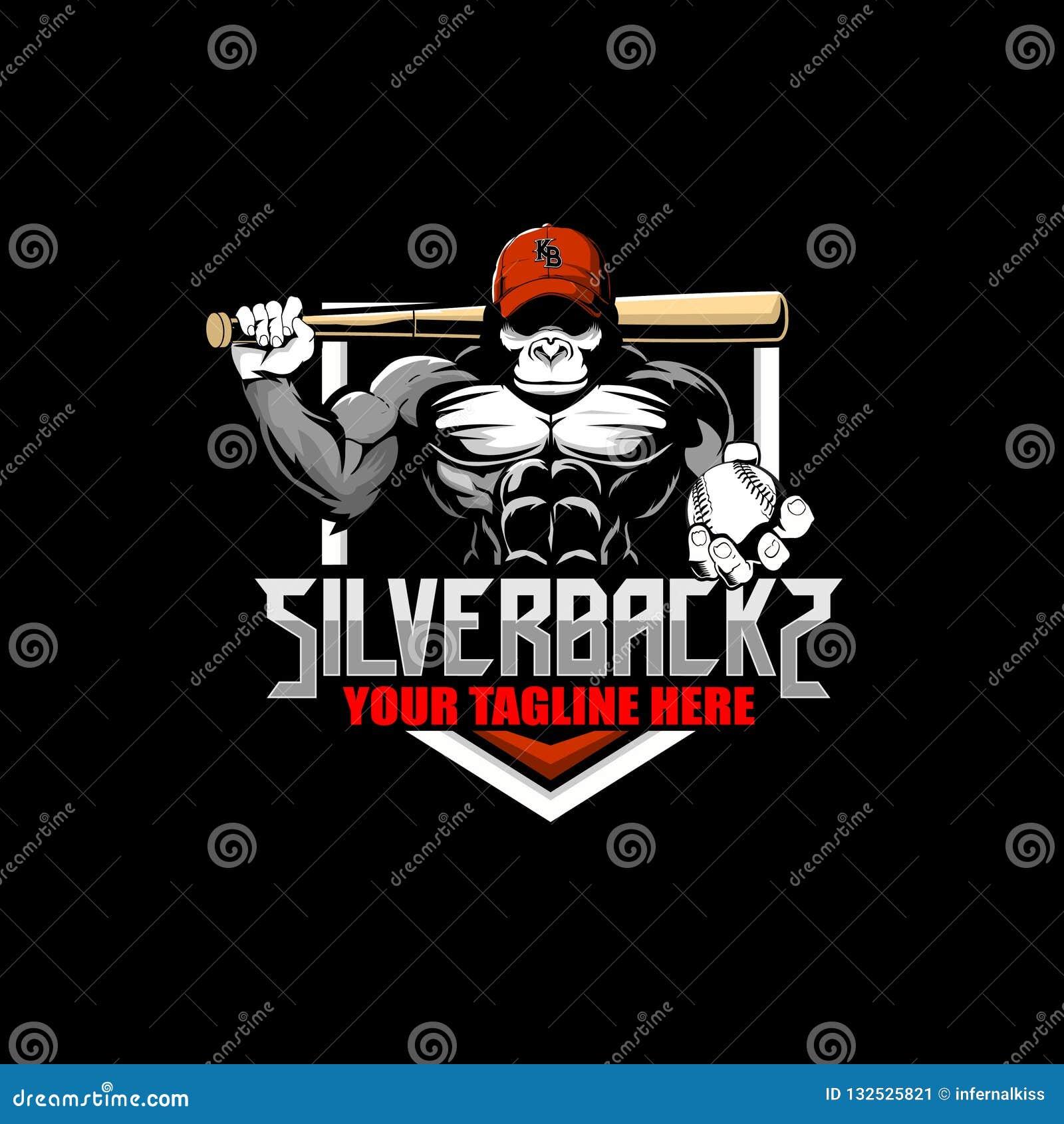 Goryl kreskówka z kapeluszu i nietoperza baseballa odznaki logo wektorowym szablonem