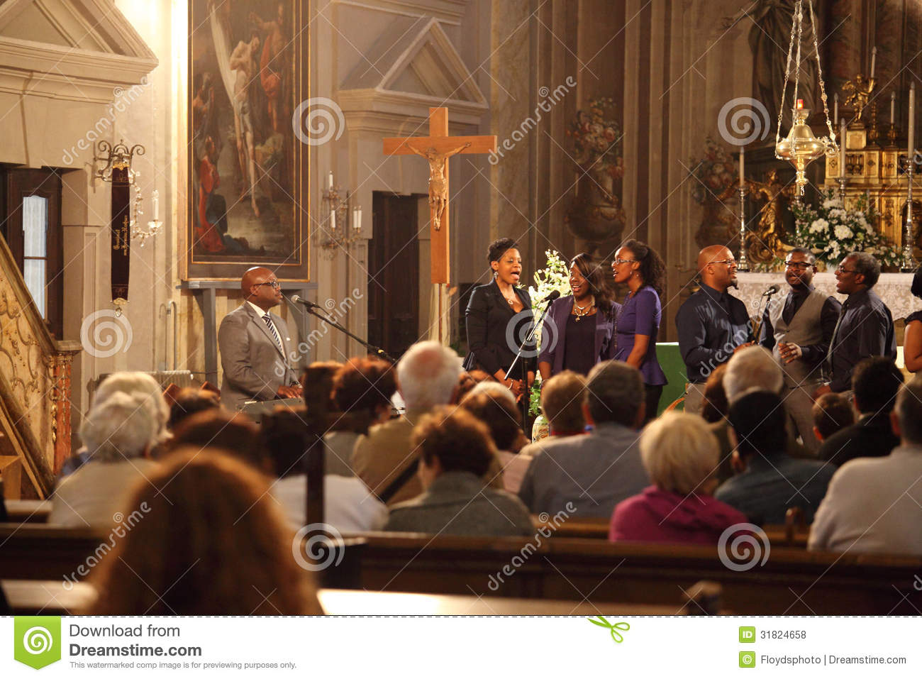 Gospel group singing inside a Church