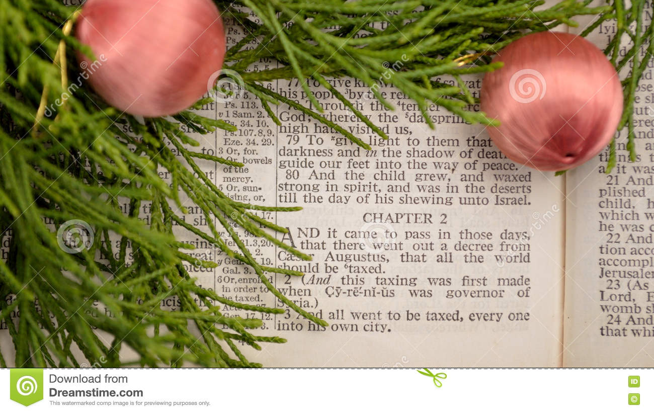 Bible Christmas Story.Gospel Of Luke Christmas Story Stock Photo Image Of