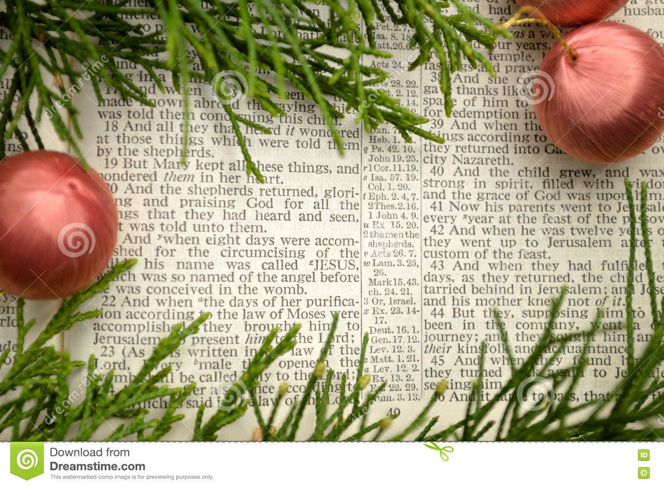 Bible Christmas Story.Gospel Of Luke Christmas Story Stock Photo Image Of Page
