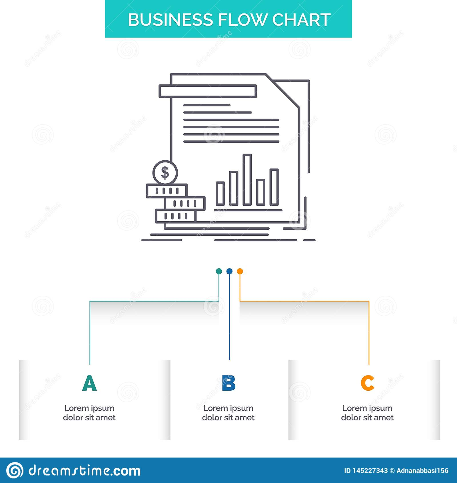 Gospodarka, finanse, pieniądze, informacja, raport Spływowej mapy Biznesowy projekt z 3 krokami Kreskowa ikona Dla prezentacji t?