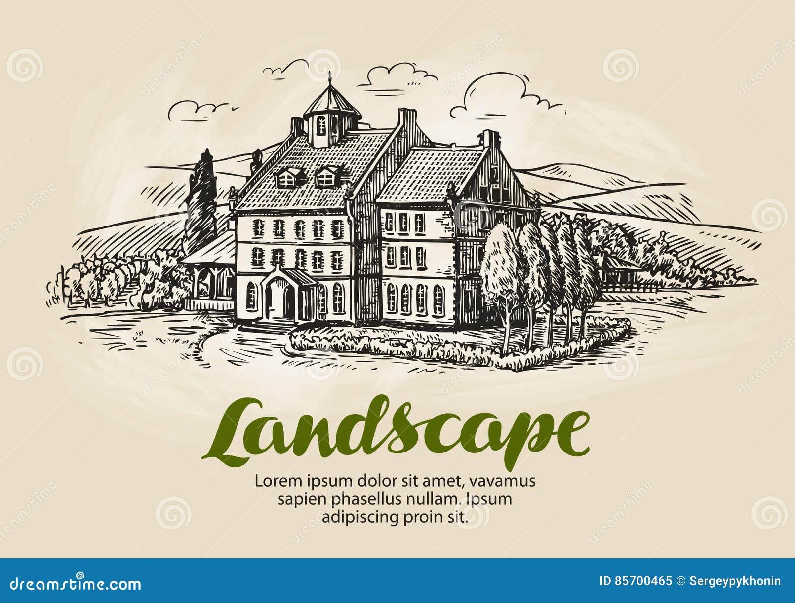 Gospodarstwo rolne, winnicy nakreślenie Rocznika wiejski krajobraz, uprawia ziemię, rolnictwo wektoru ilustracja