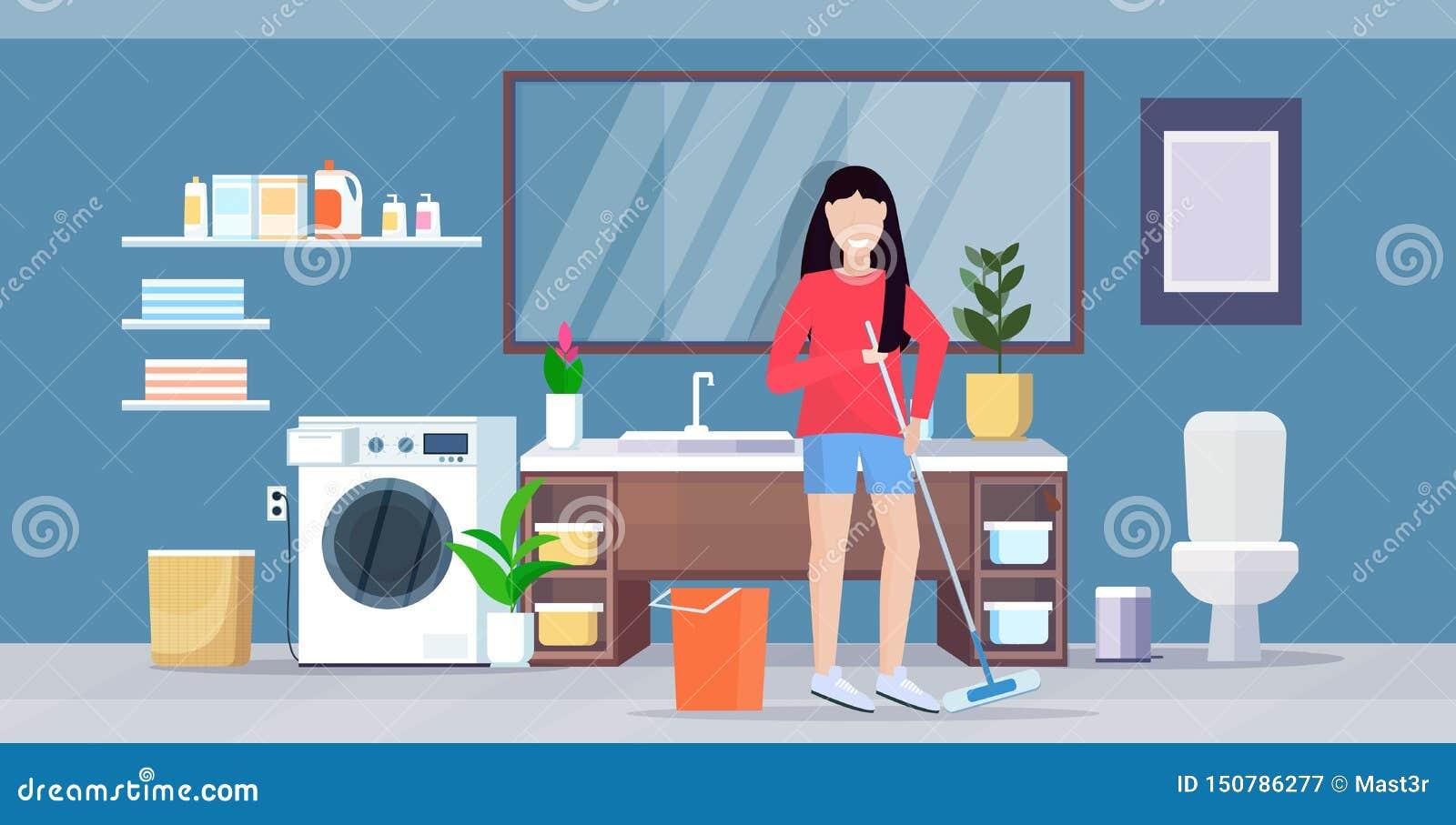 Gospodyni domowa mopping podłogowej uśmiechniętej kobiety mienia czystego kwacz robi sprzątaniu czyści usługowego housekeeping po
