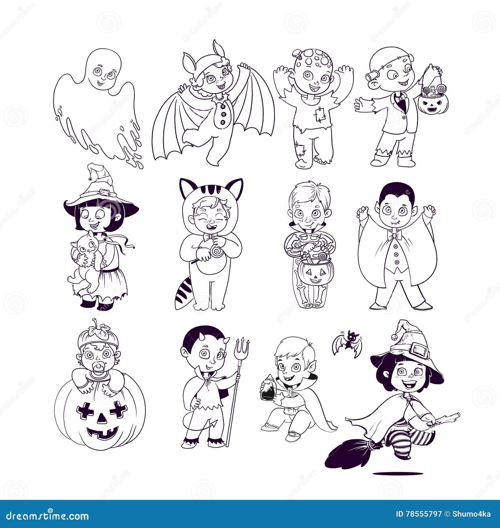 Gosses Dans Des Costumes De Veille De La Toussaint Livre De Coloriage De Halloween Illustration Pour Des Personnages De Dessin An Illustration De Vecteur Illustration Du Gosses Veille 78555797
