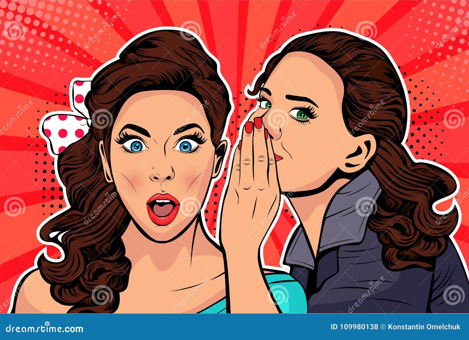 Gossip o segreto di sussurro della donna al suo amico Illustrazione di Pop art di vettore
