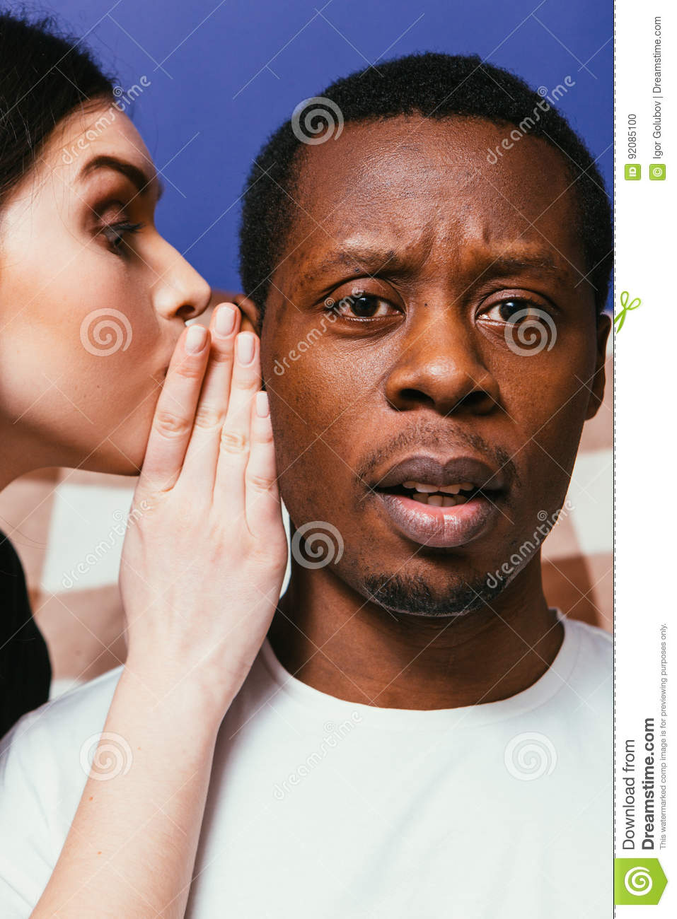 Gossip woman whisper on man ear, tell secret