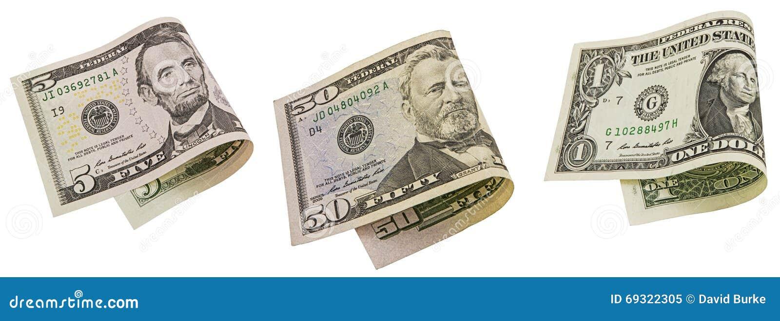 Gotówkowy Amerykański banknot składający pieniądze kolaż odizolowywał rachunek