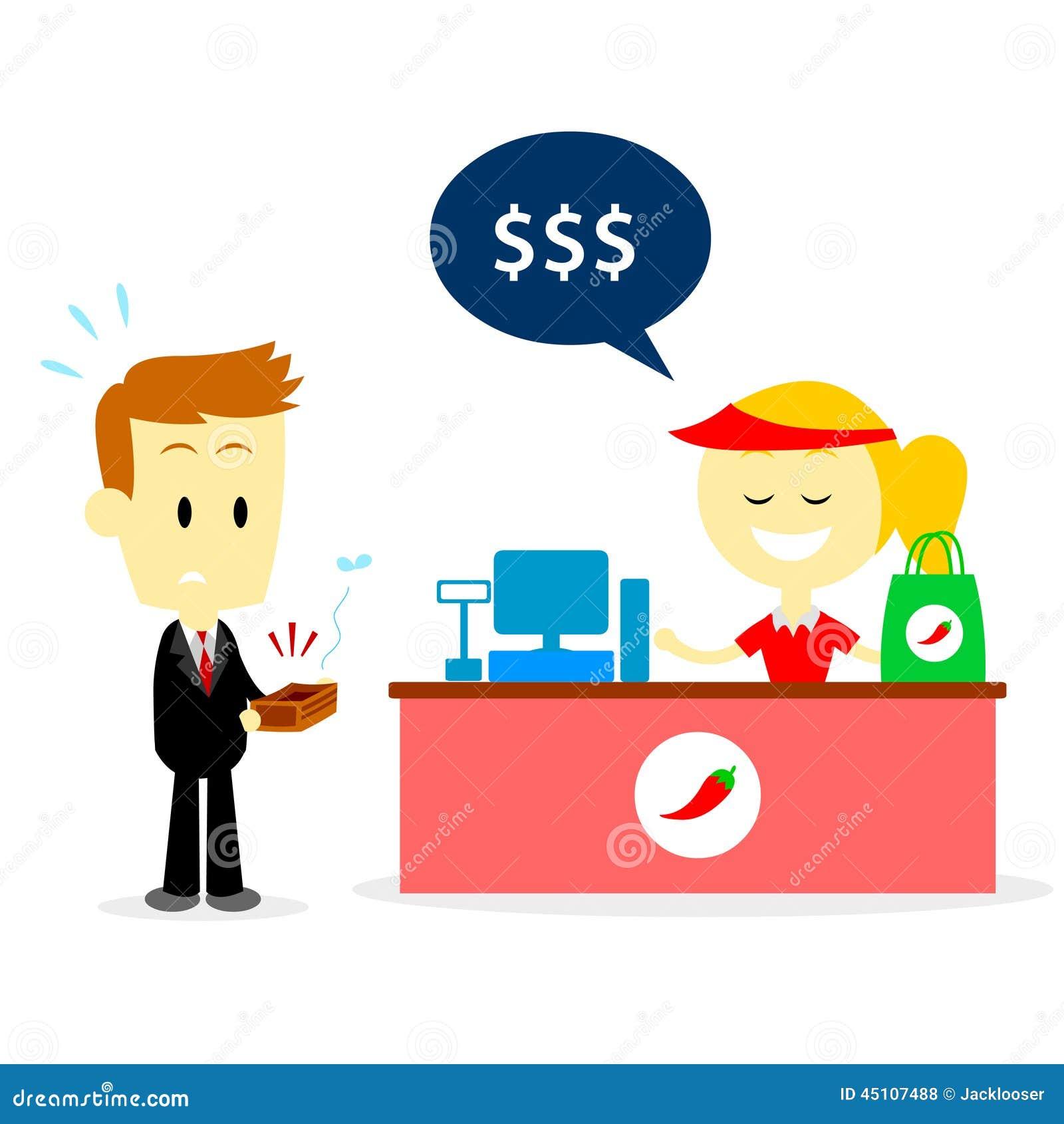 Cashier Cartoons: Got No Cash Stock Vector