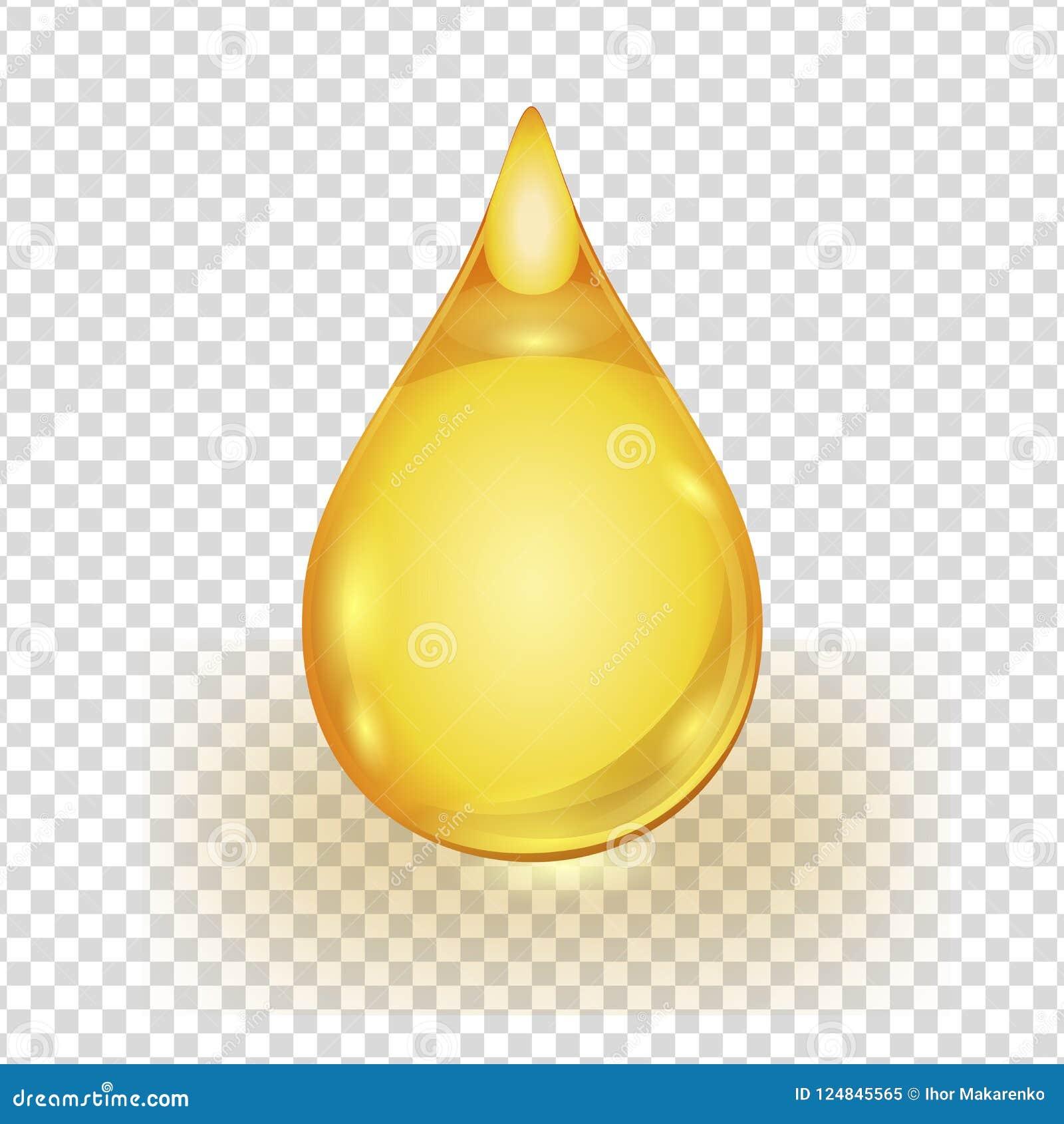 Gota do ouro do óleo isolada no fundo transparente
