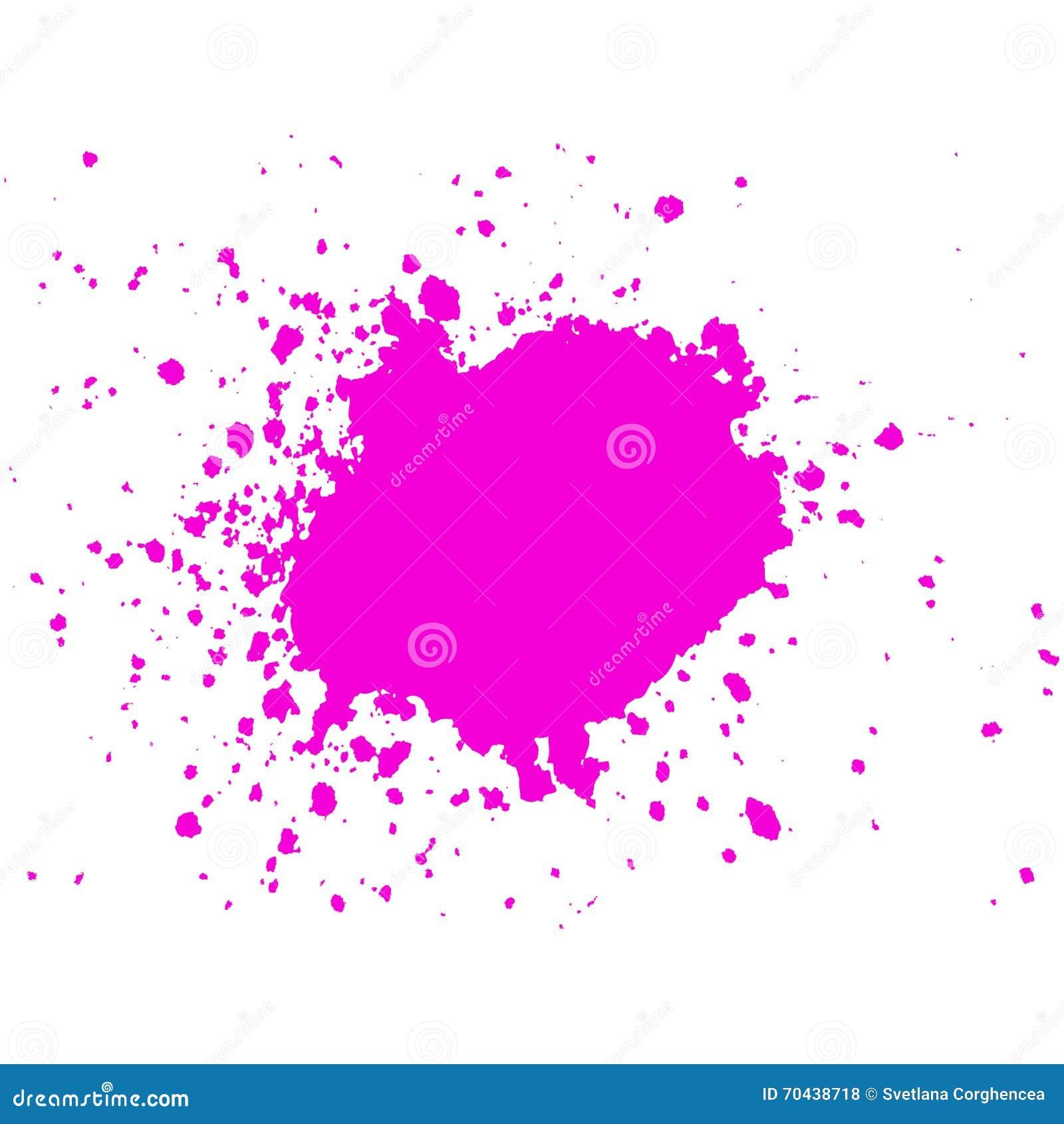 Gota rosada de la pintura de la tinta con la salpicadura en el fondo blanco stain