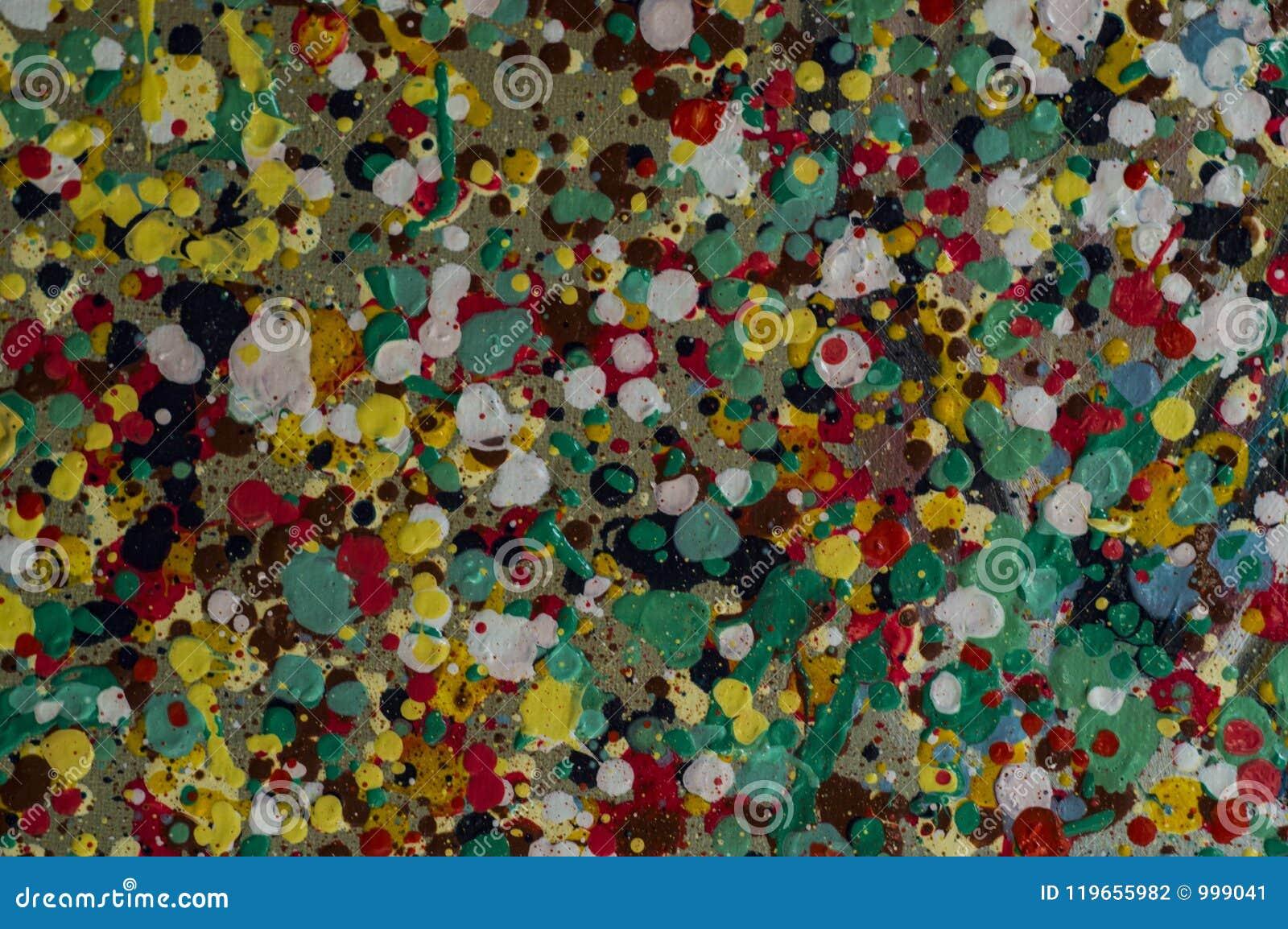 Gotas coloridas da pintura a óleo no jpg da foto da ilustração da lona