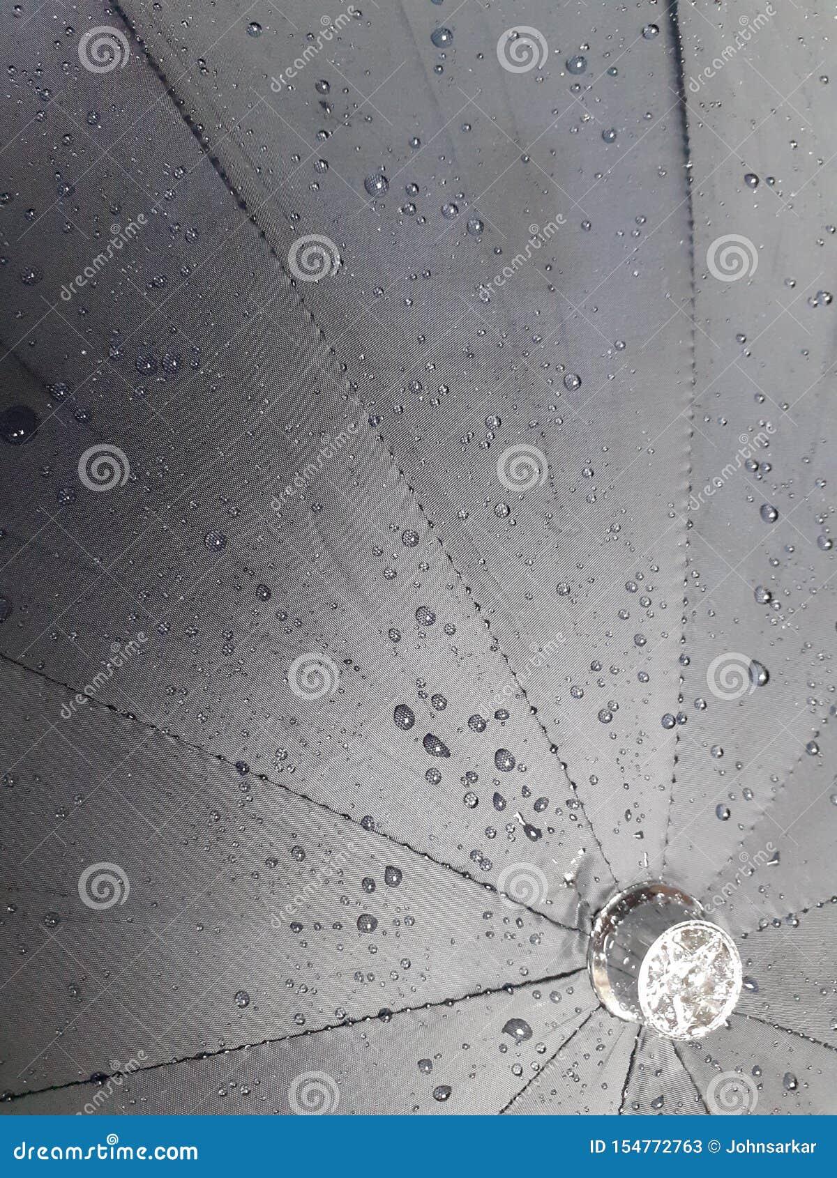 Gotas da água na textura preta do guarda-chuva