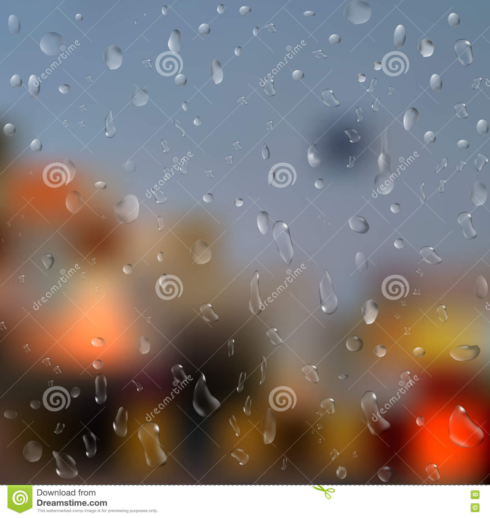 Gotas da chuva na janela com luzes abstratas ilustração 3D Vetor